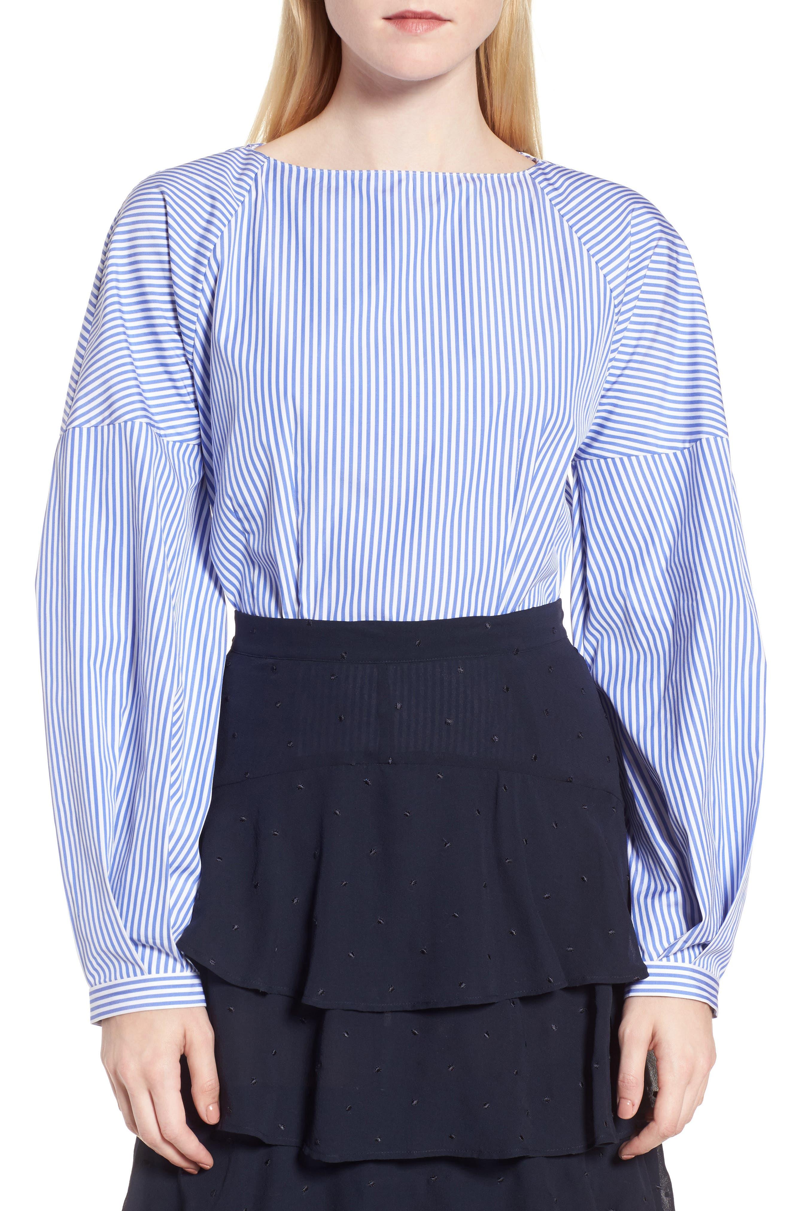 Balloon Sleeve Stripe Shirt,                         Main,                         color, Blue Azurite Vania Stripe