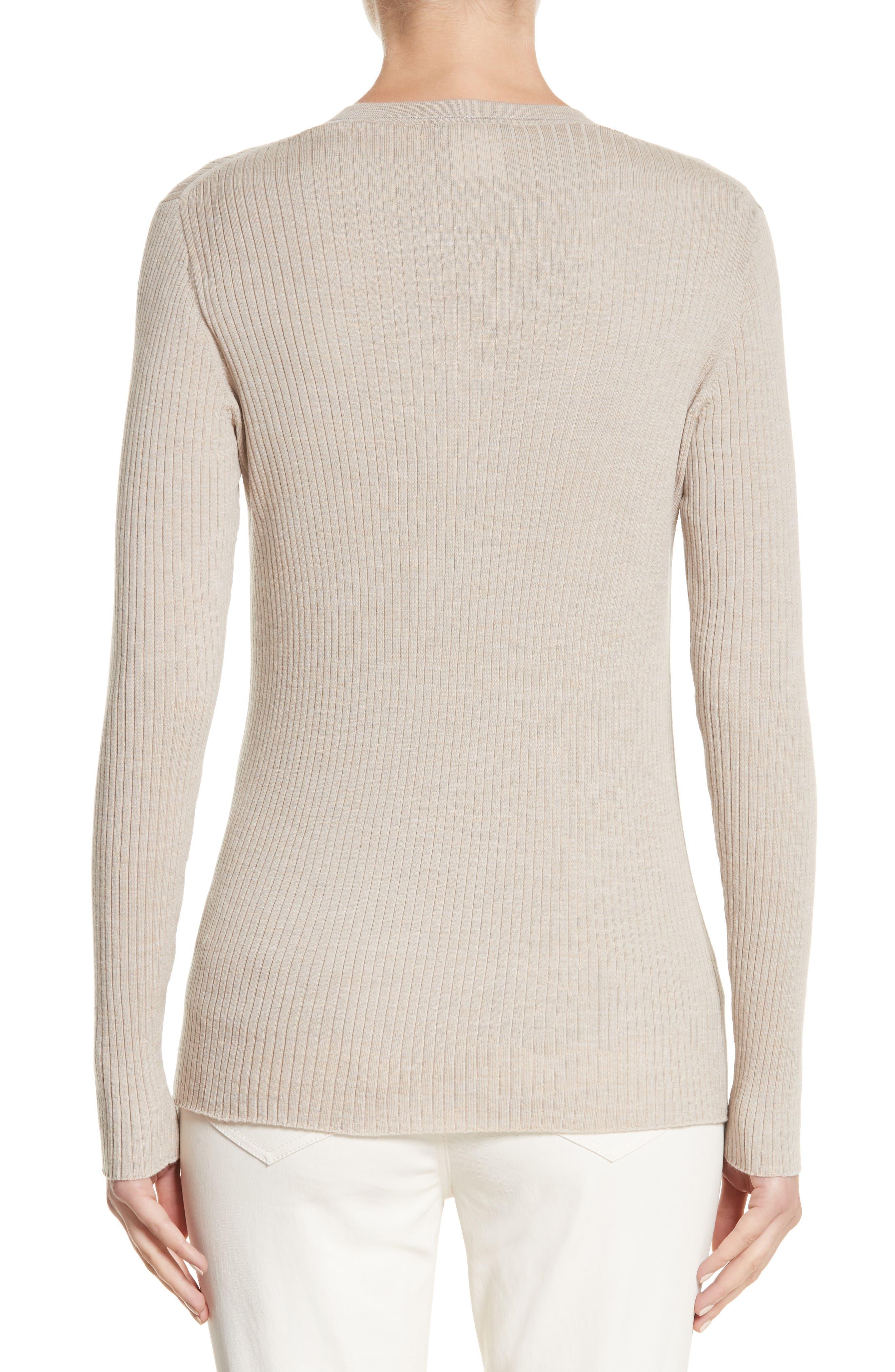 Metallic Wool Modern Ribbed Cardigan,                             Alternate thumbnail 3, color,                             Luxor Melange