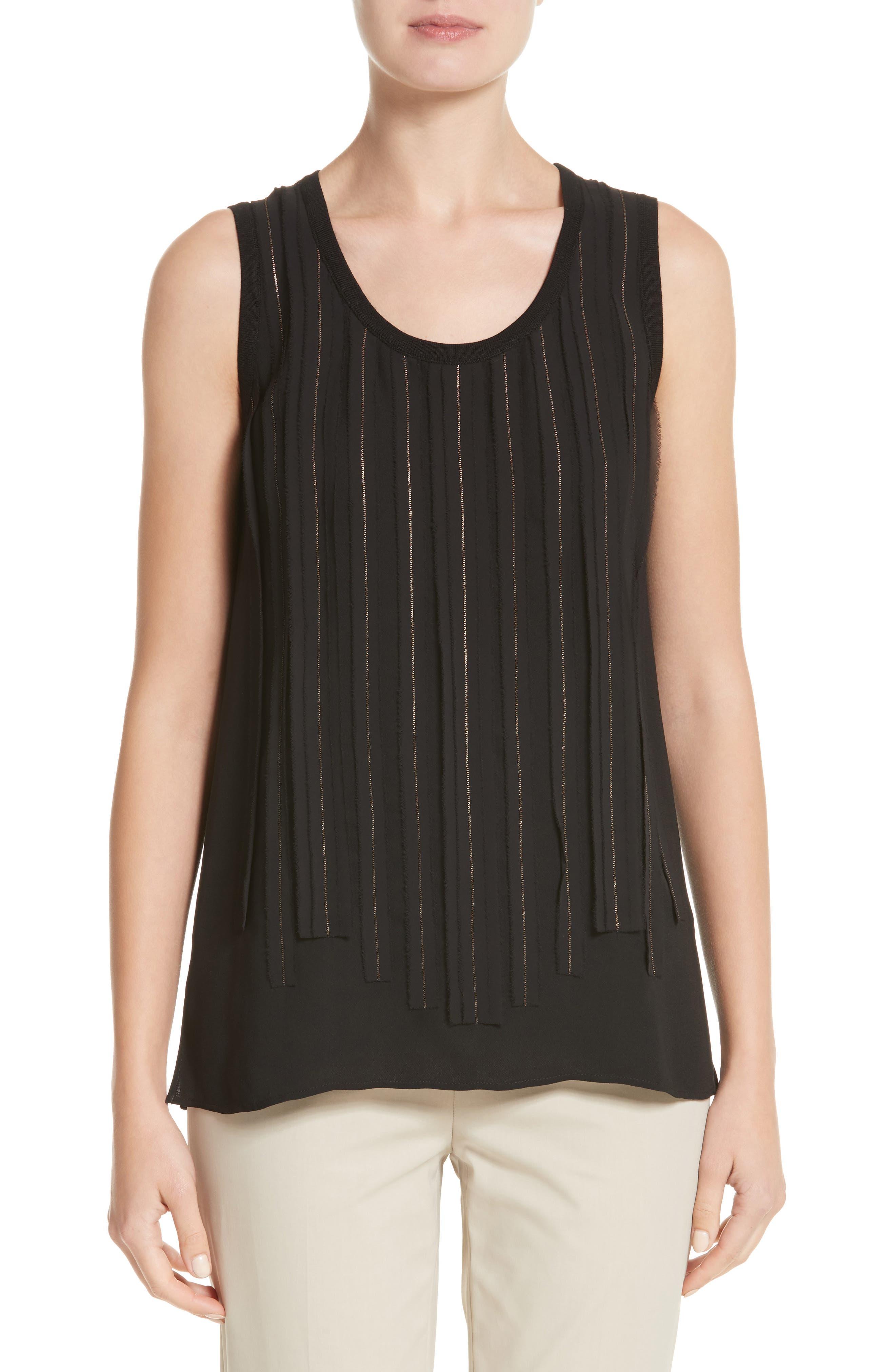 Jules Chain Stripe Silk Tank,                         Main,                         color, Black