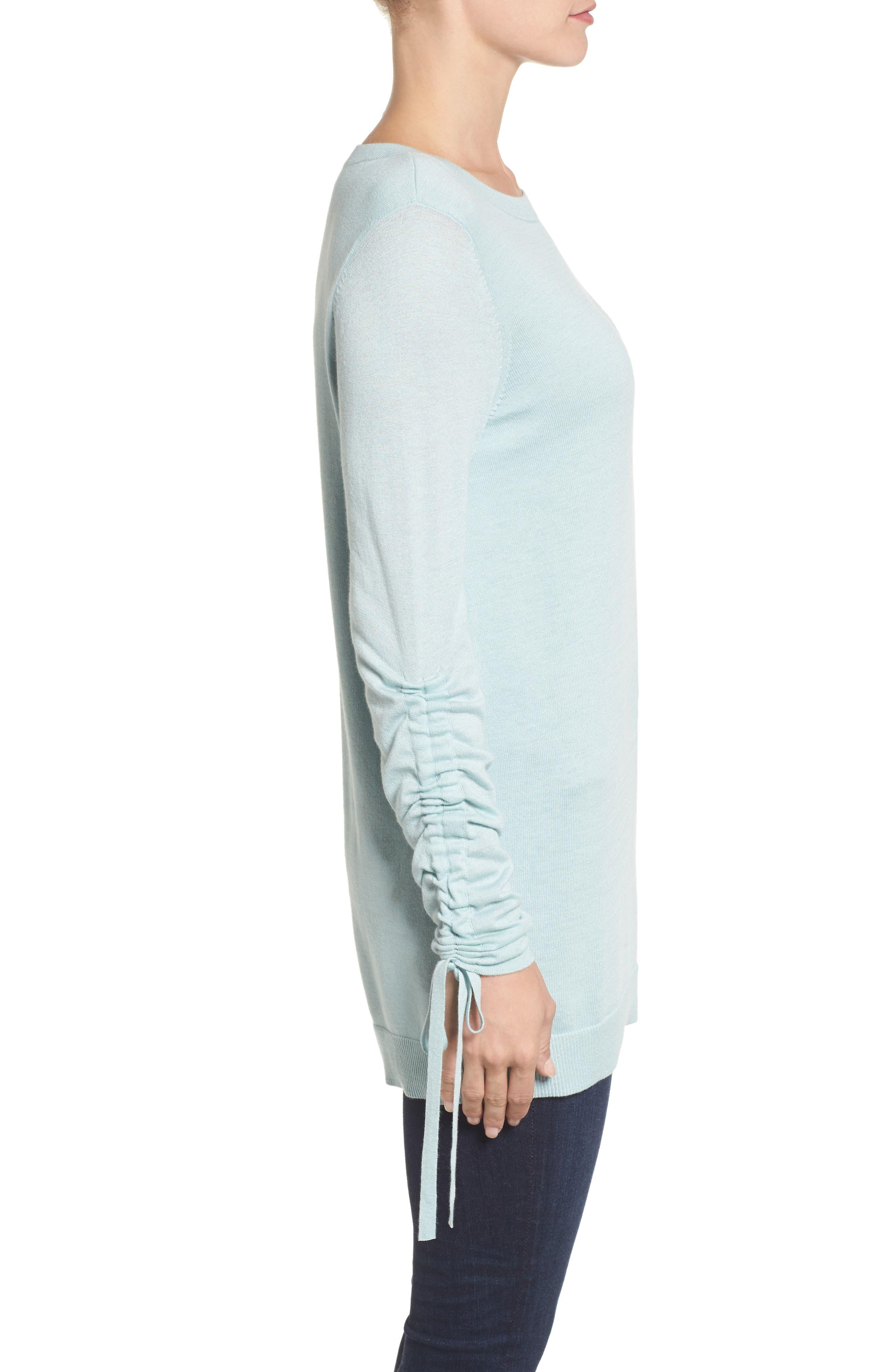 Alternate Image 3  - Halogen® Ruched Sleeve Tunic Sweater (Regular & Petite)
