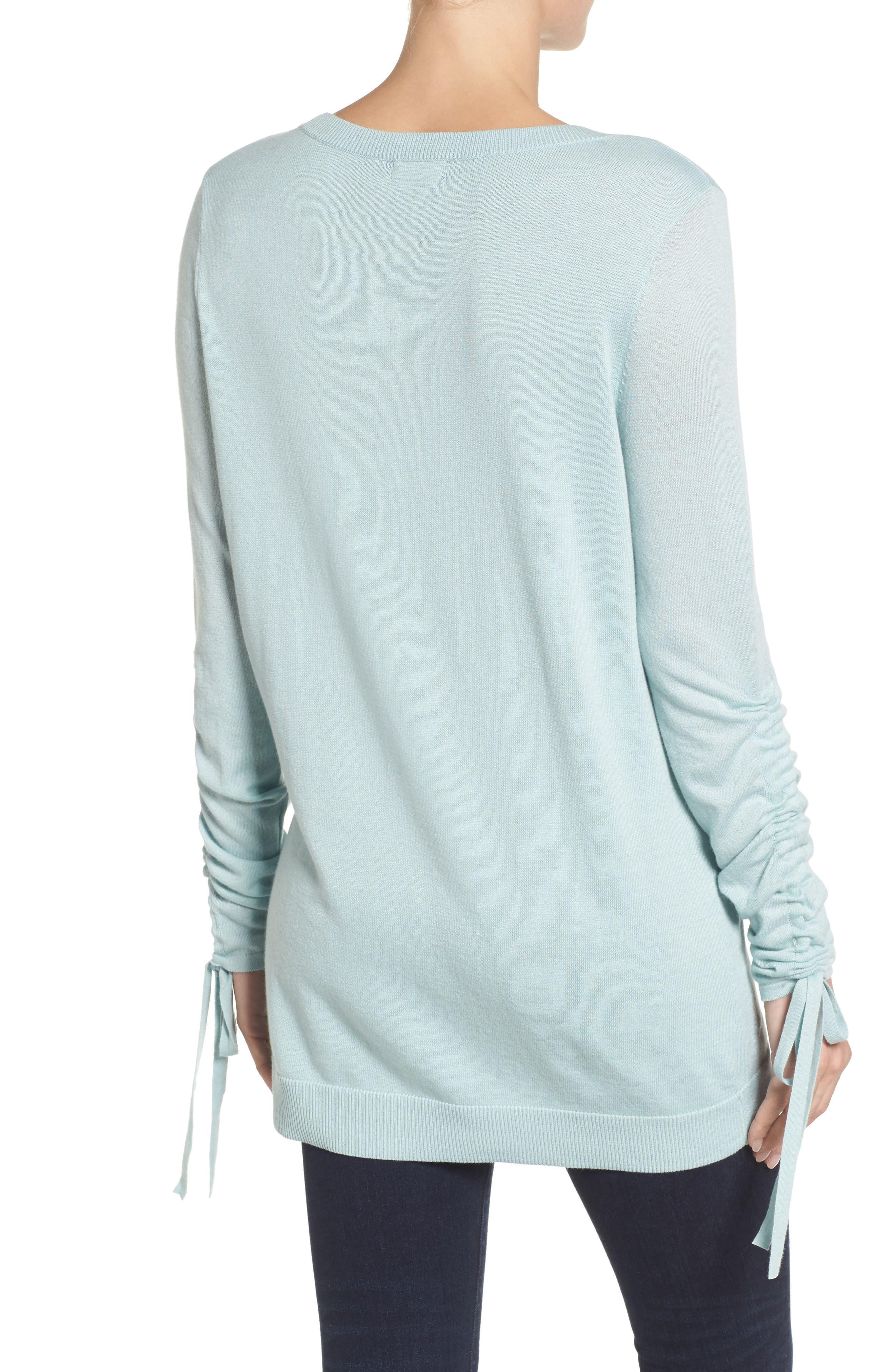 Alternate Image 2  - Halogen® Ruched Sleeve Tunic Sweater (Regular & Petite)