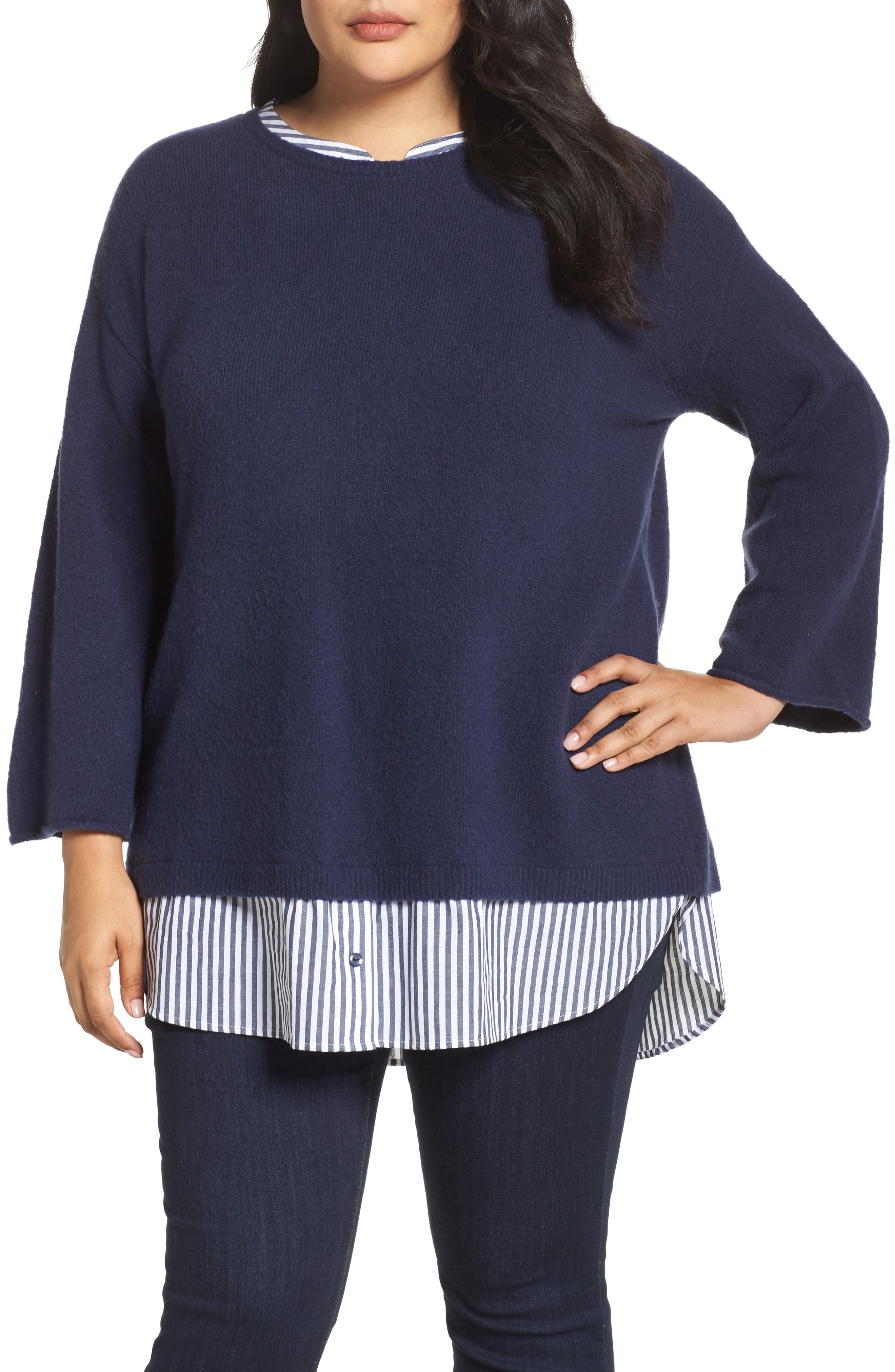 Cozy Layered Sweater,                             Main thumbnail 1, color,                             Navy Peacoat