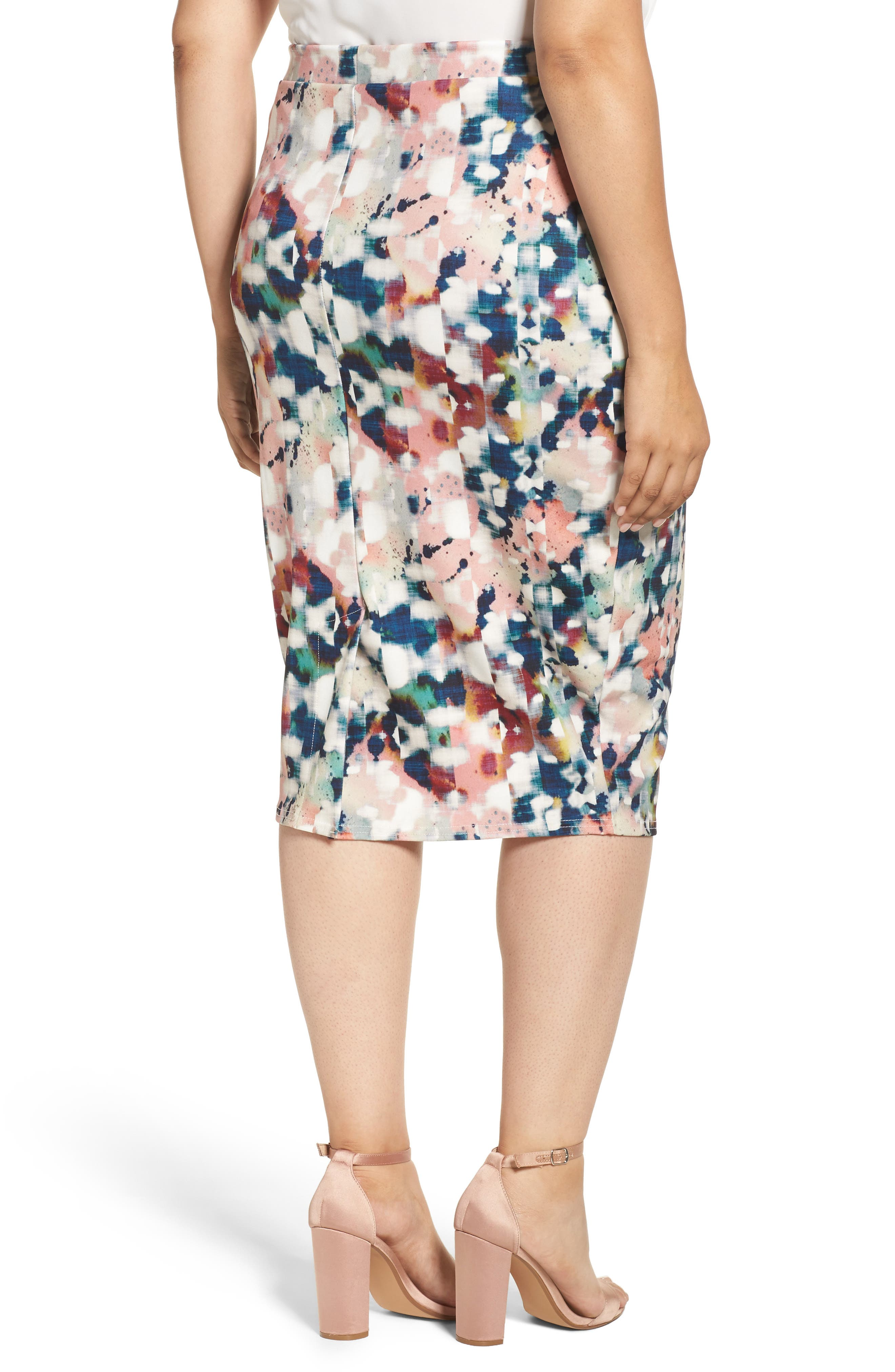 Alternate Image 2  - LOST INK Abstract Print Pencil Skirt (Plus Size)