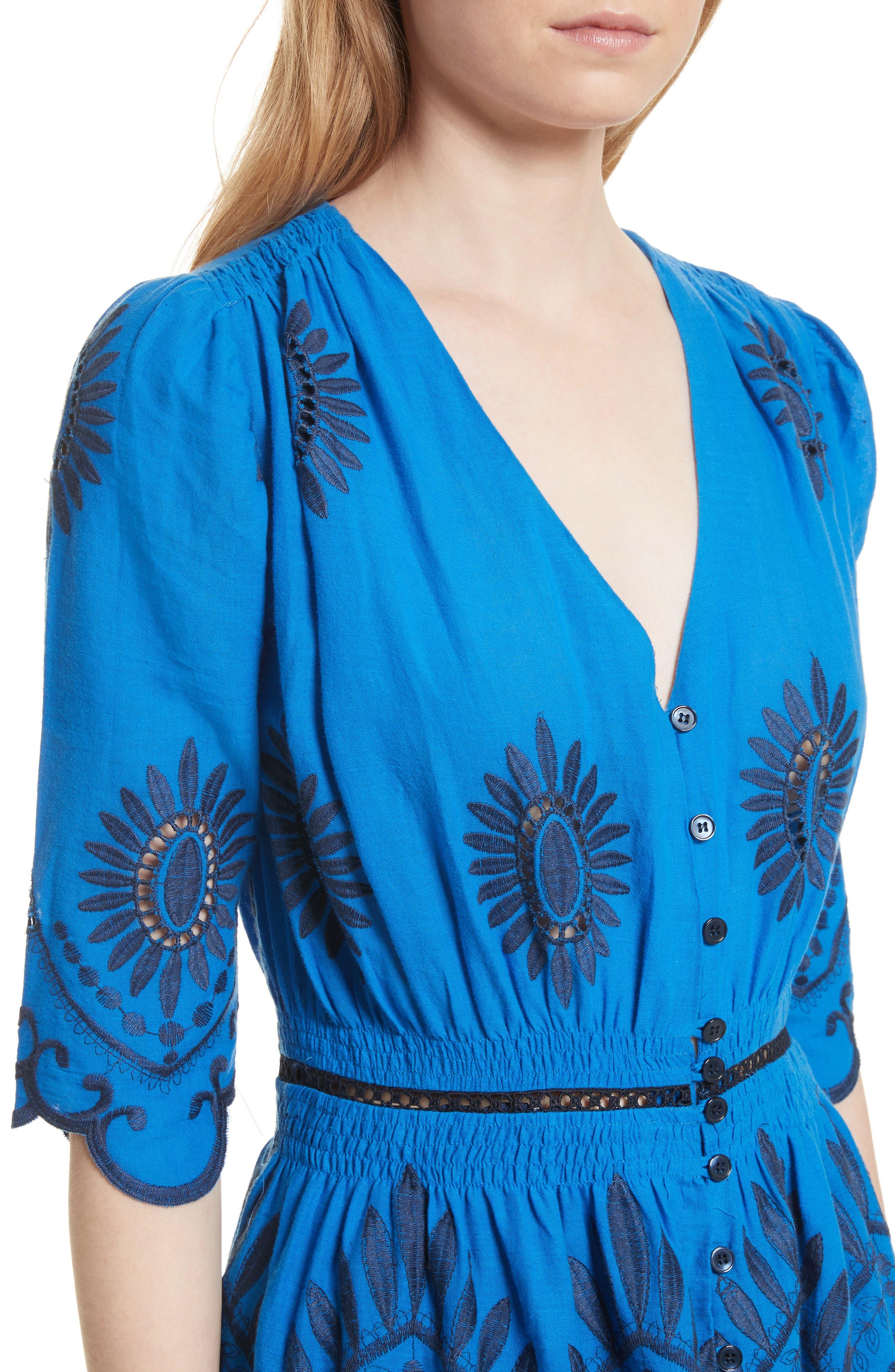 Cotton Eyelet Maxi Dress,                             Alternate thumbnail 4, color,                             Blue/ Navy