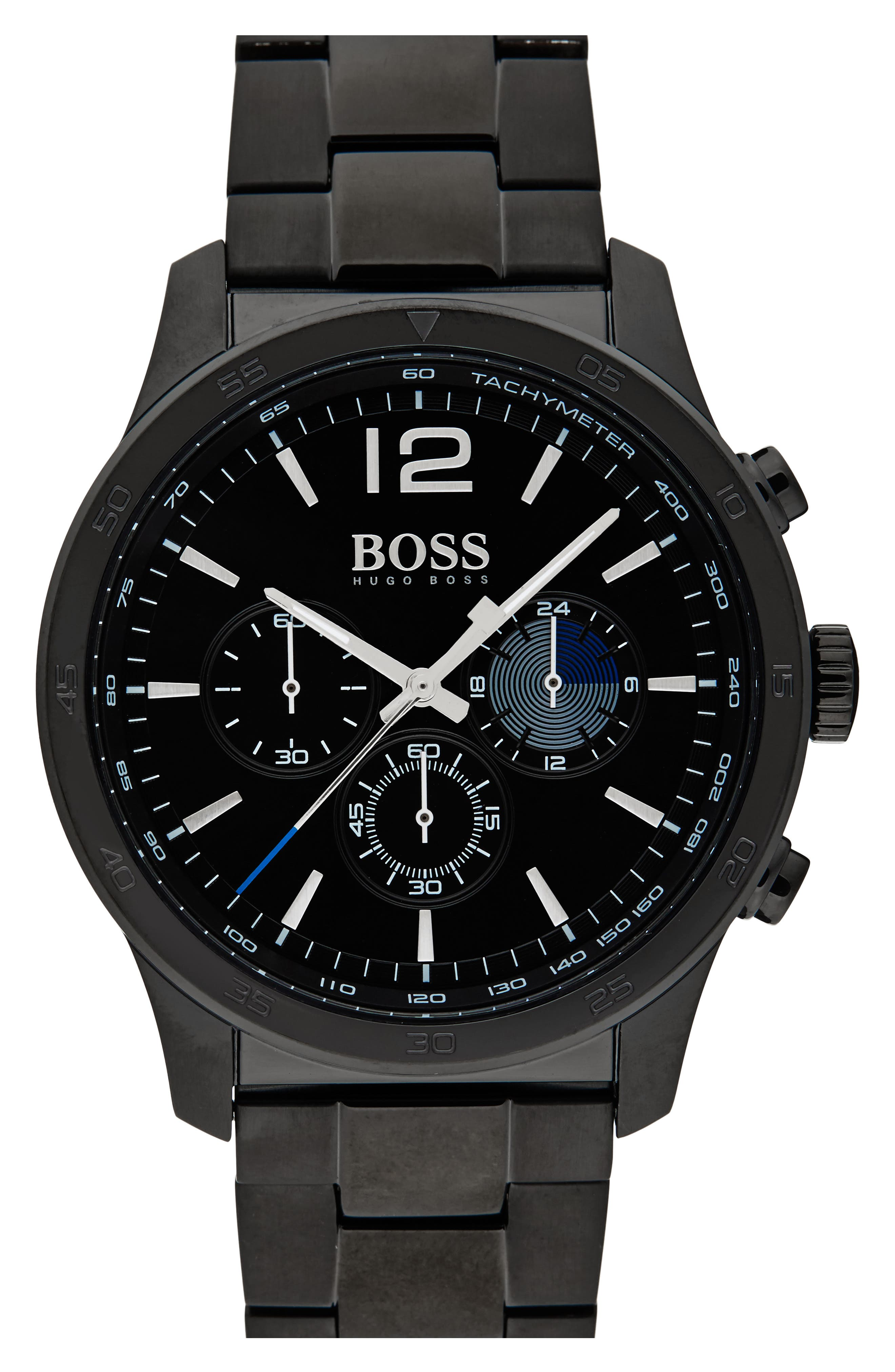 Professional Chronograph Bracelet Watch, 42mm,                         Main,                         color, Black/ Black