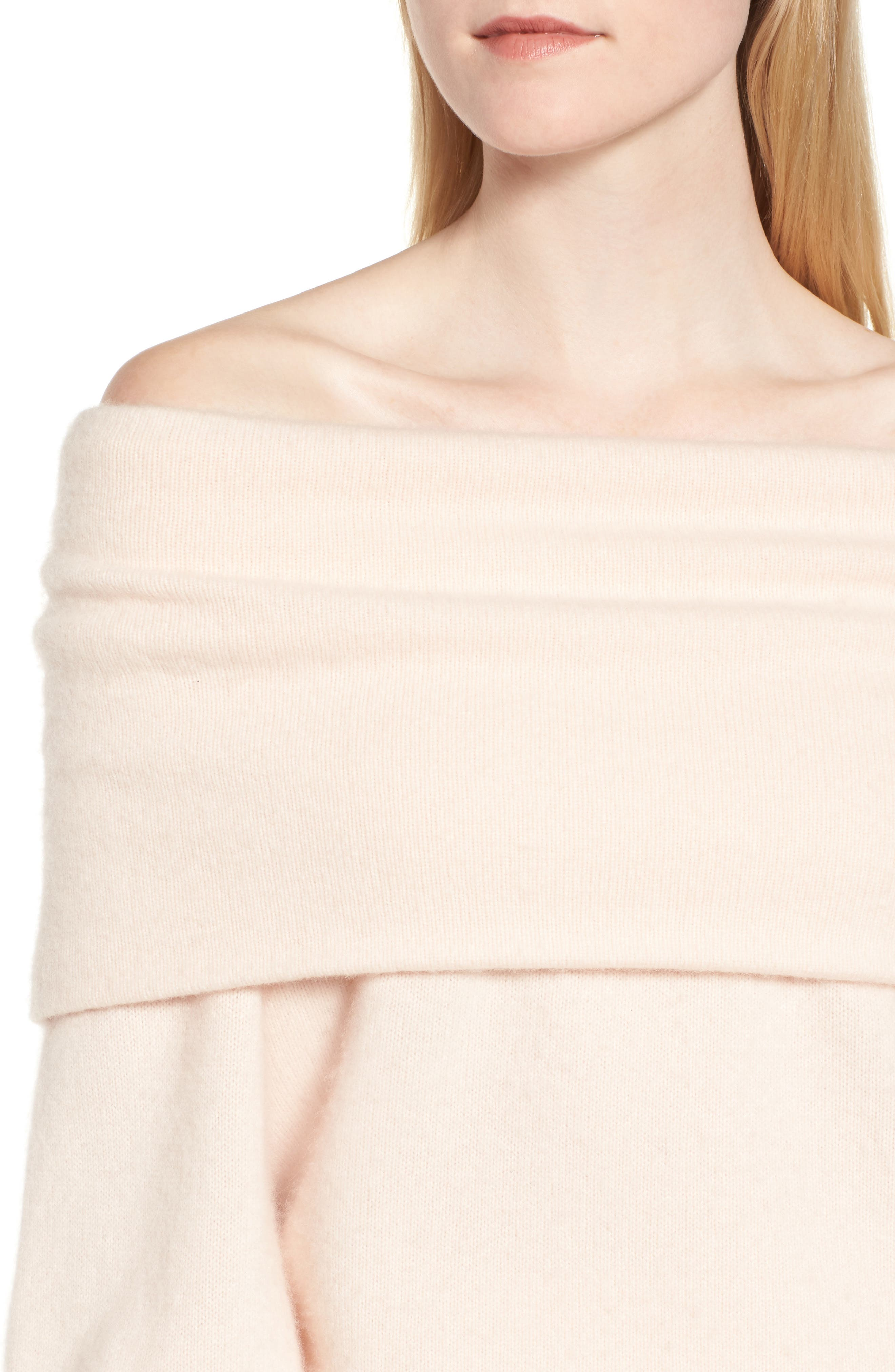 Convertible Neck Cashmere Sweater,                             Alternate thumbnail 5, color,                             Pink Adobe