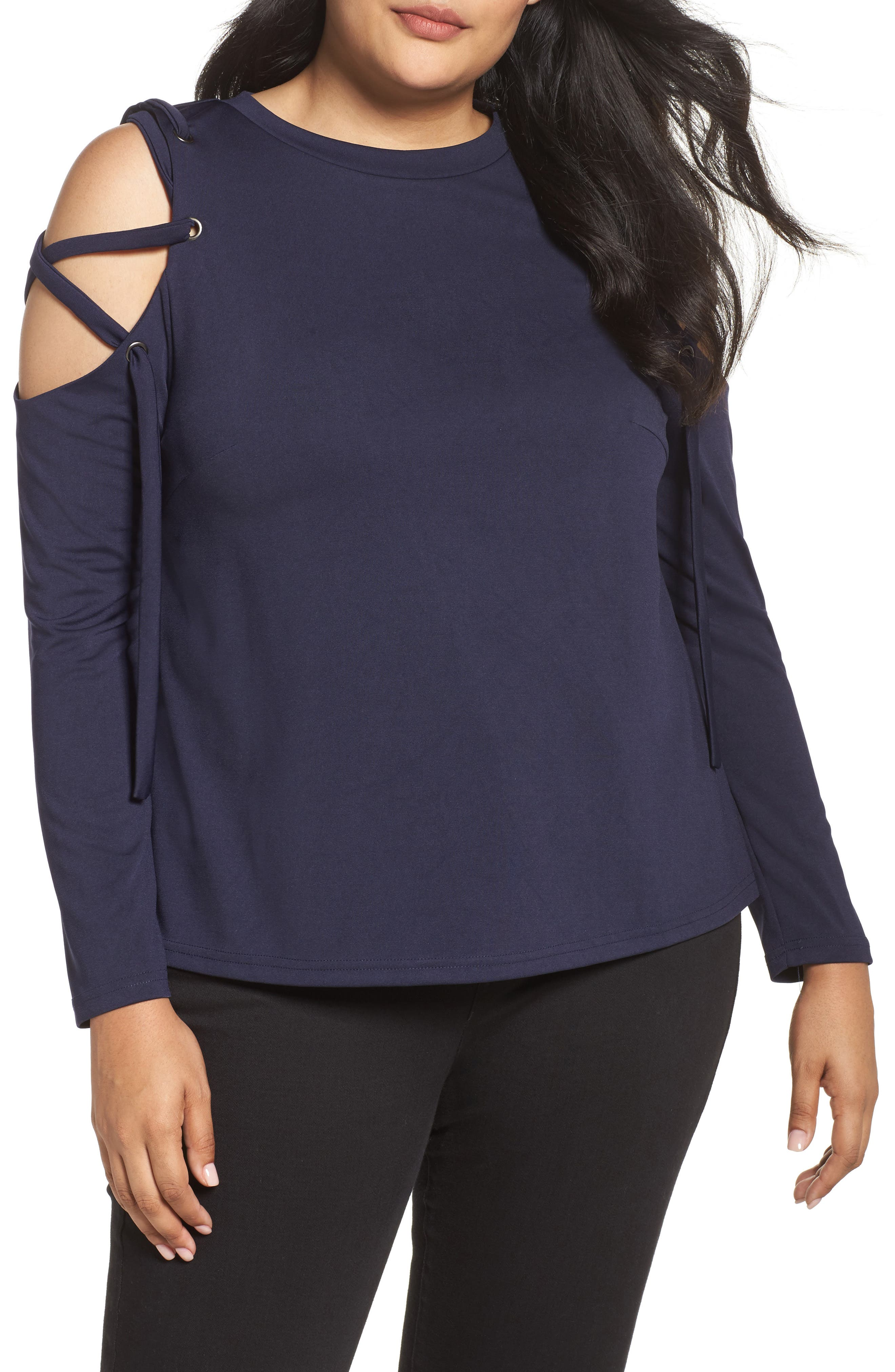 Eyelet Lace-Up Sleeve Top,                         Main,                         color, Navy