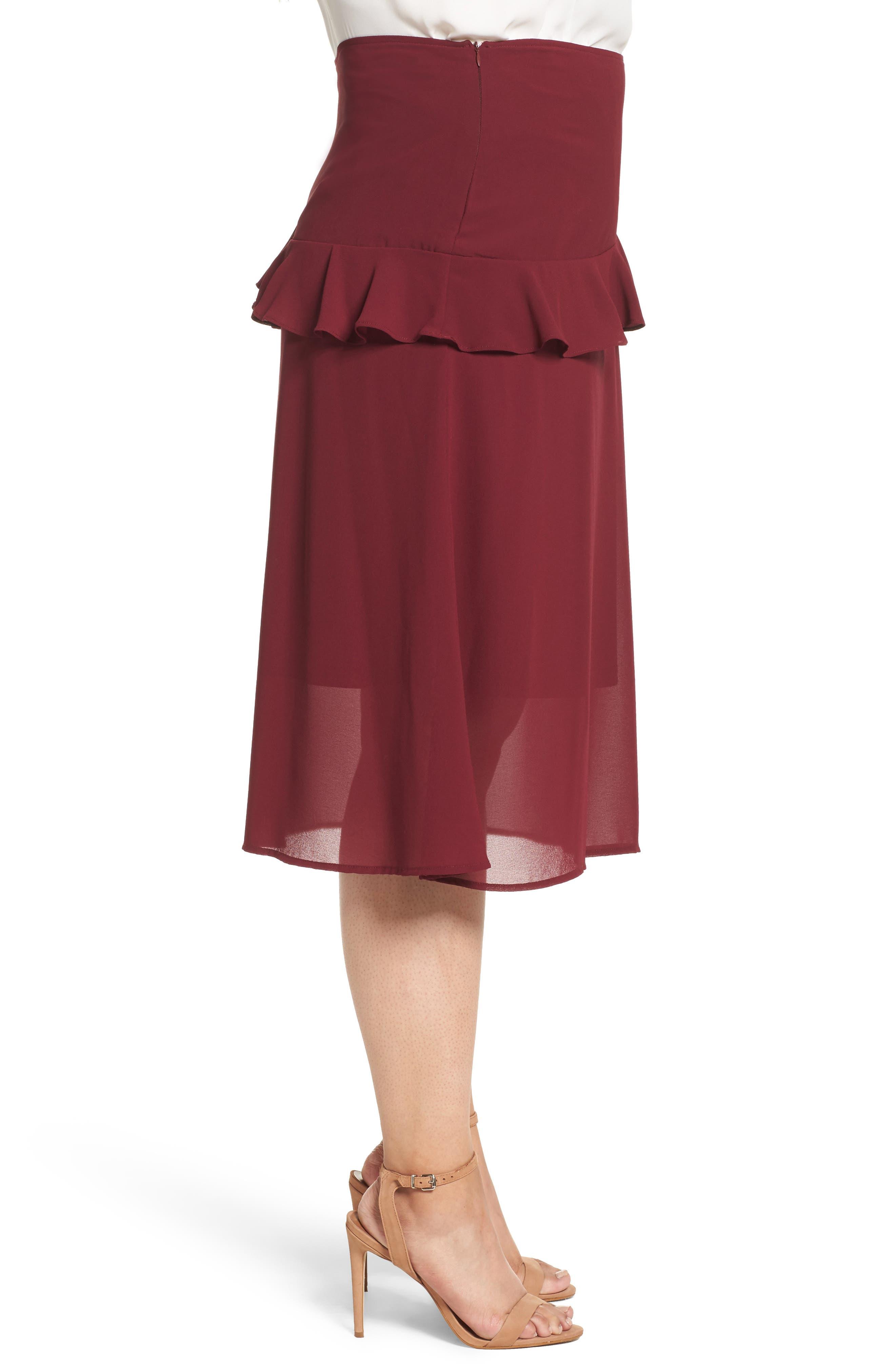 Ruffled Georgette Skirt,                             Alternate thumbnail 3, color,                             Burgundy