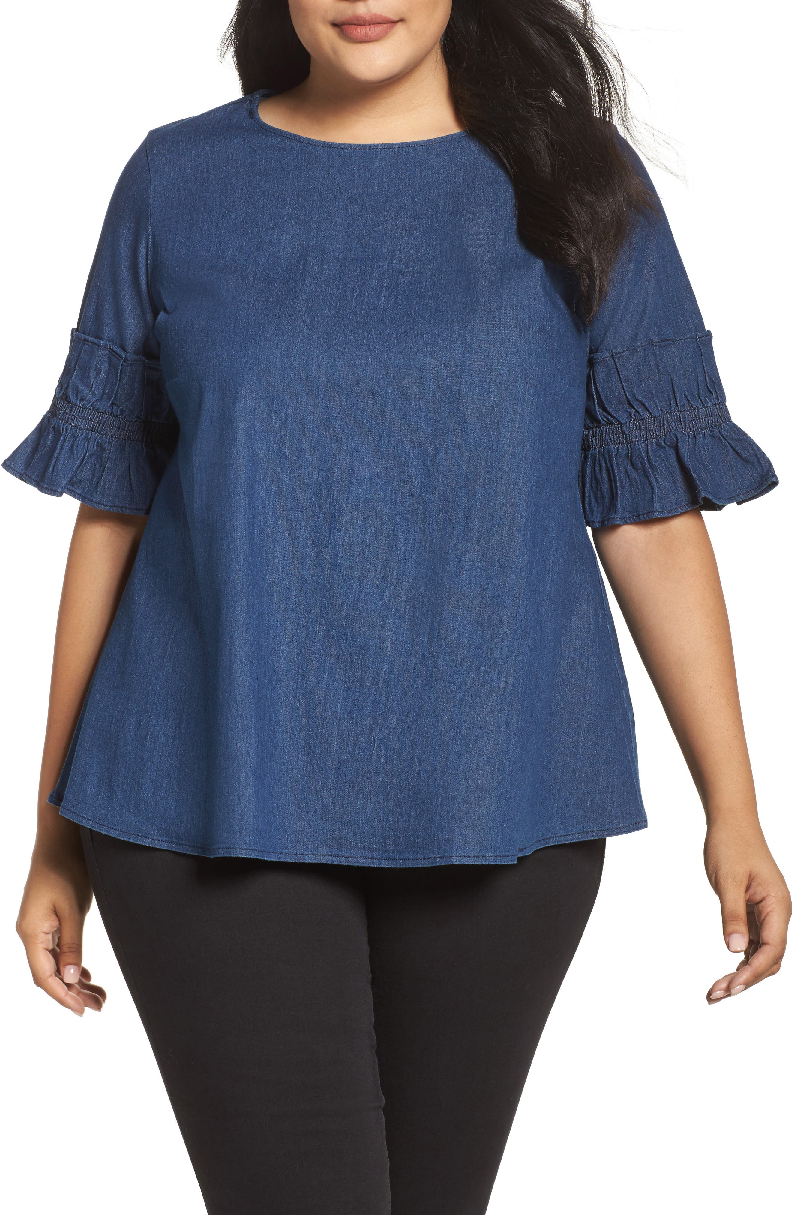 LOST INK Ruffle Sleeve Denim Top (Plus Size)