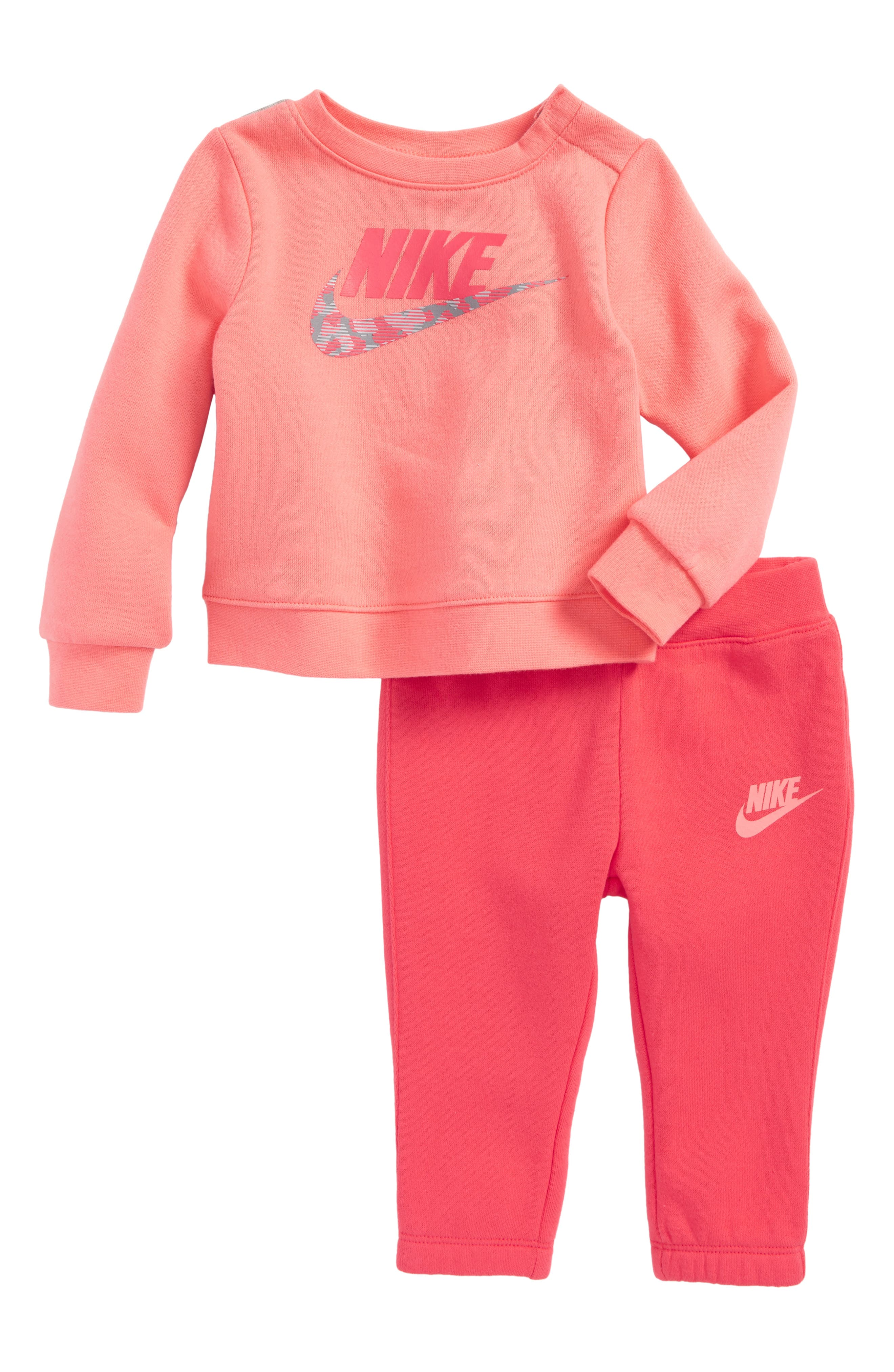 Alternate Image 1 Selected - Nike Fleece Sweatshirt & Sweatpants Set (Baby Girls)