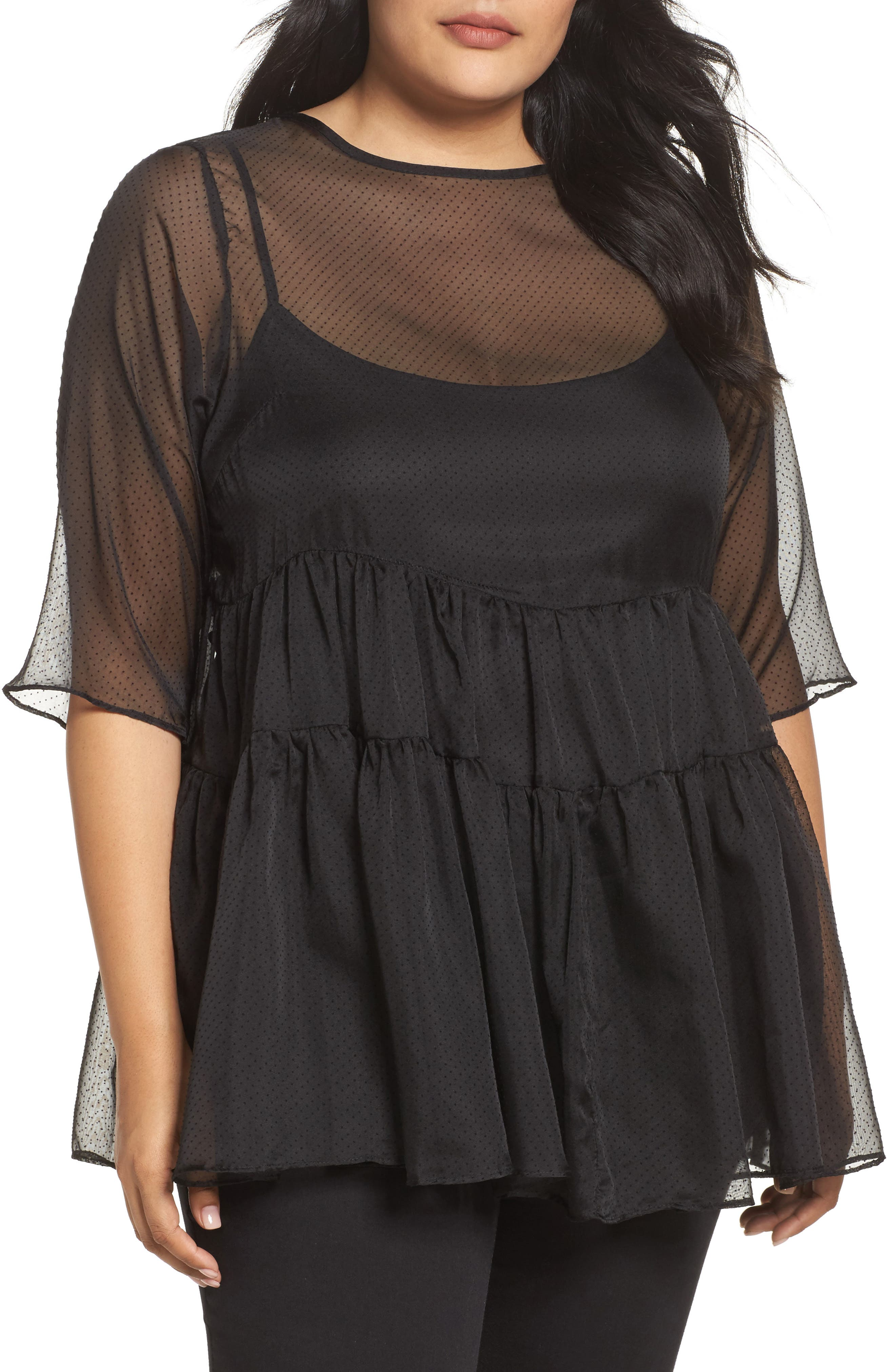 Alternate Image 1 Selected - LOST INK Ruffle Swiss Dot Top (Plus Size)