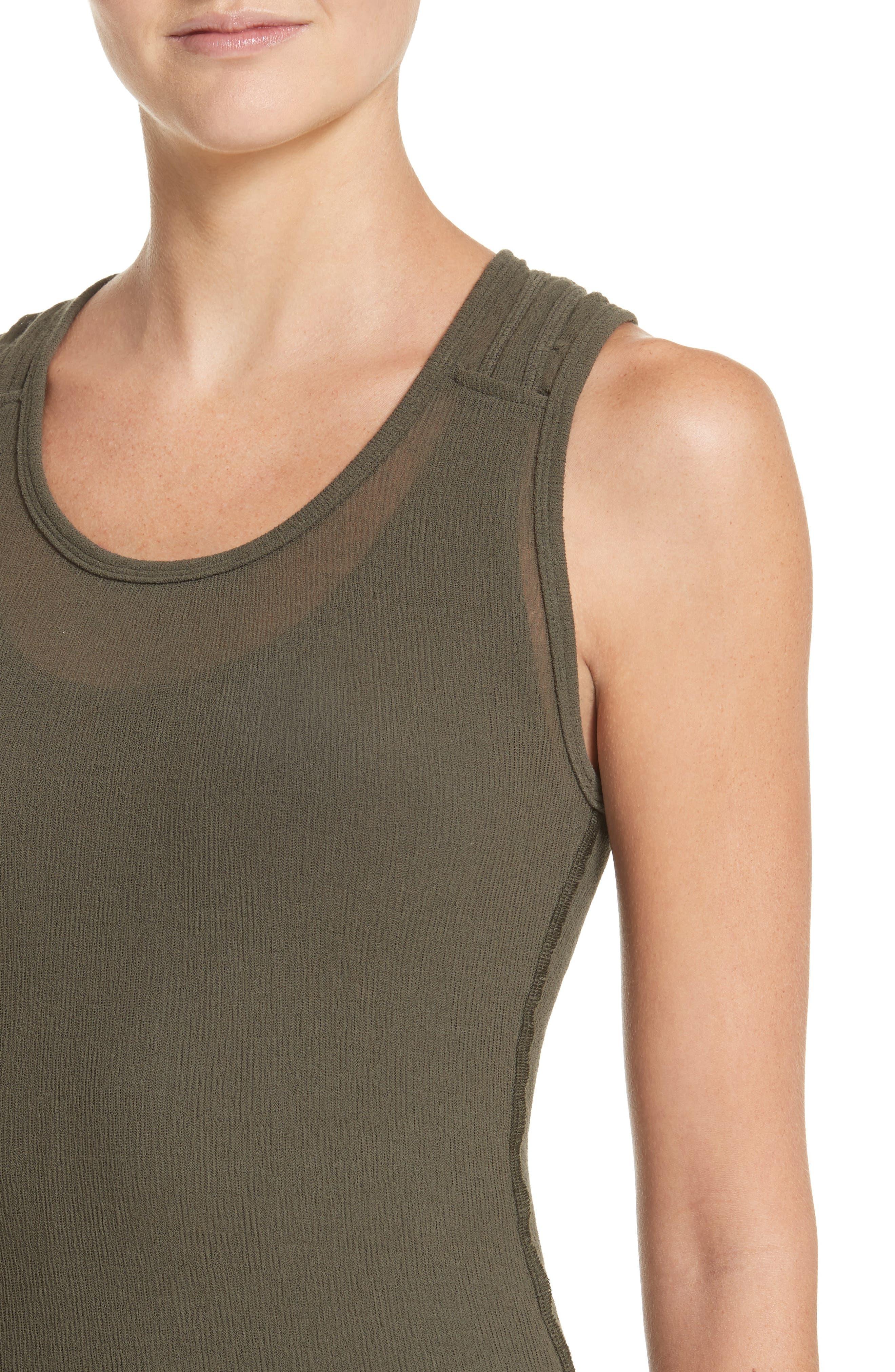 PSWL Jersey Gauze Dress,                             Alternate thumbnail 4, color,                             Army