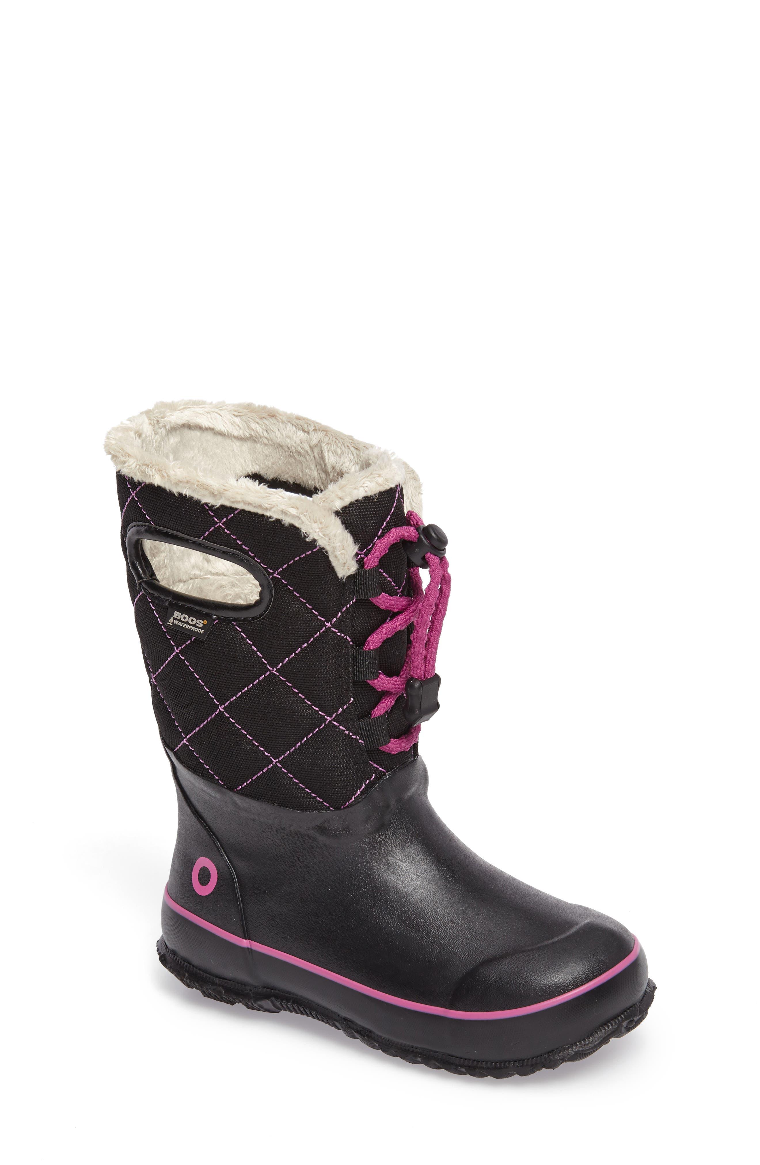 Juno Faux Fur Insulated Waterproof Boot,                             Main thumbnail 1, color,                             Black Multi