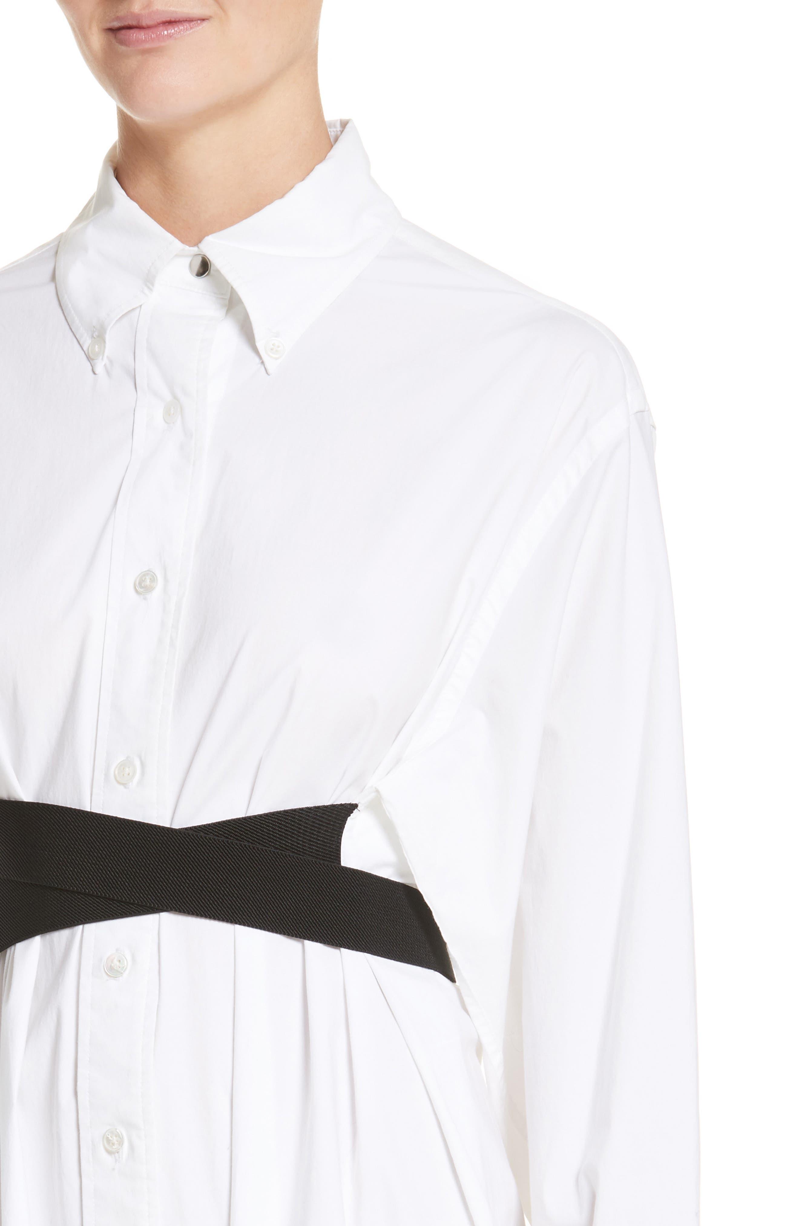 PSWL Belted Poplin Shirtdress,                             Alternate thumbnail 4, color,                             Optic White/ Black