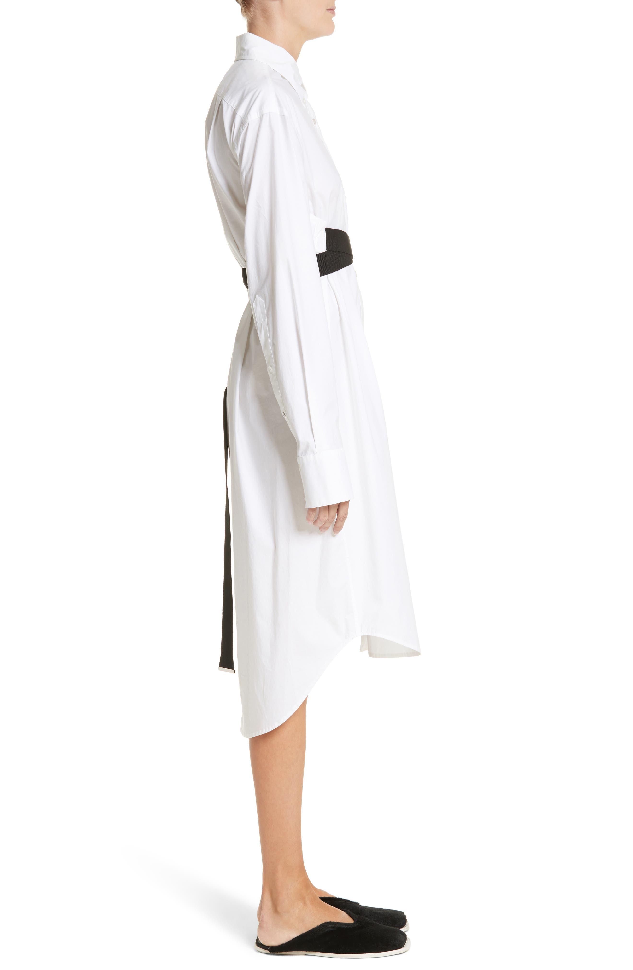 PSWL Belted Poplin Shirtdress,                             Alternate thumbnail 3, color,                             Optic White/ Black