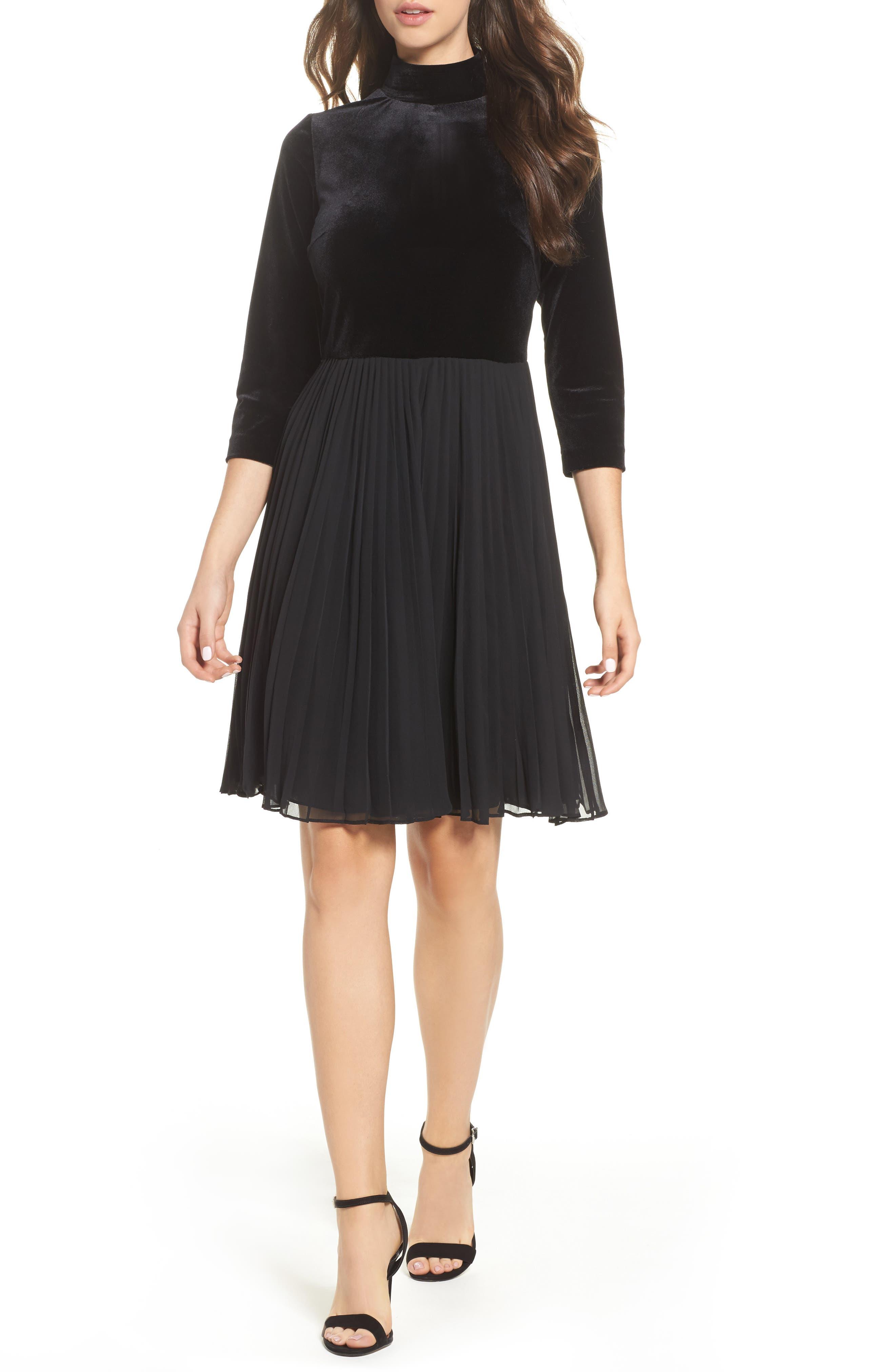 Velvet Mock Neck Dress,                         Main,                         color, Black