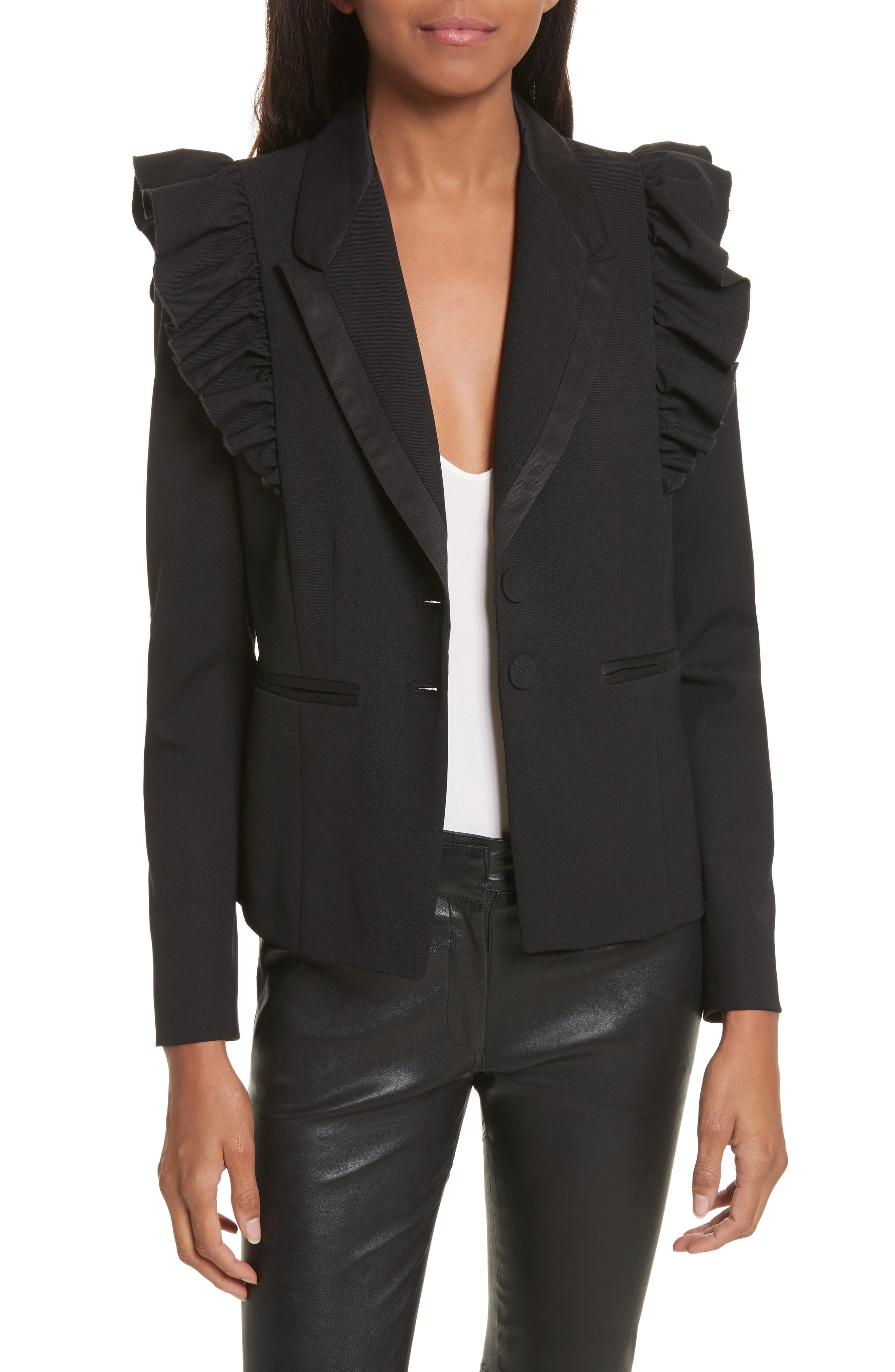 Ruffle Stretch Wool Jacket,                         Main,                         color, Black