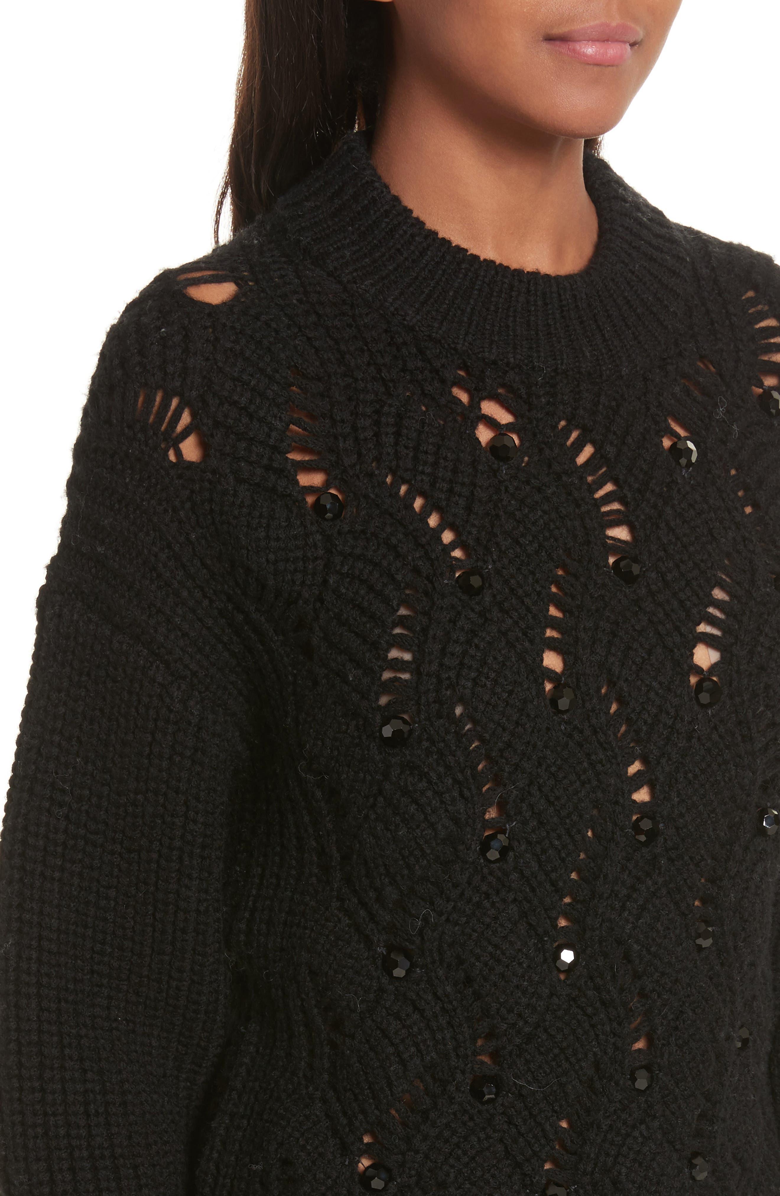 Alternate Image 4  - Rebecca Taylor Embellished Wool Blend Sweater