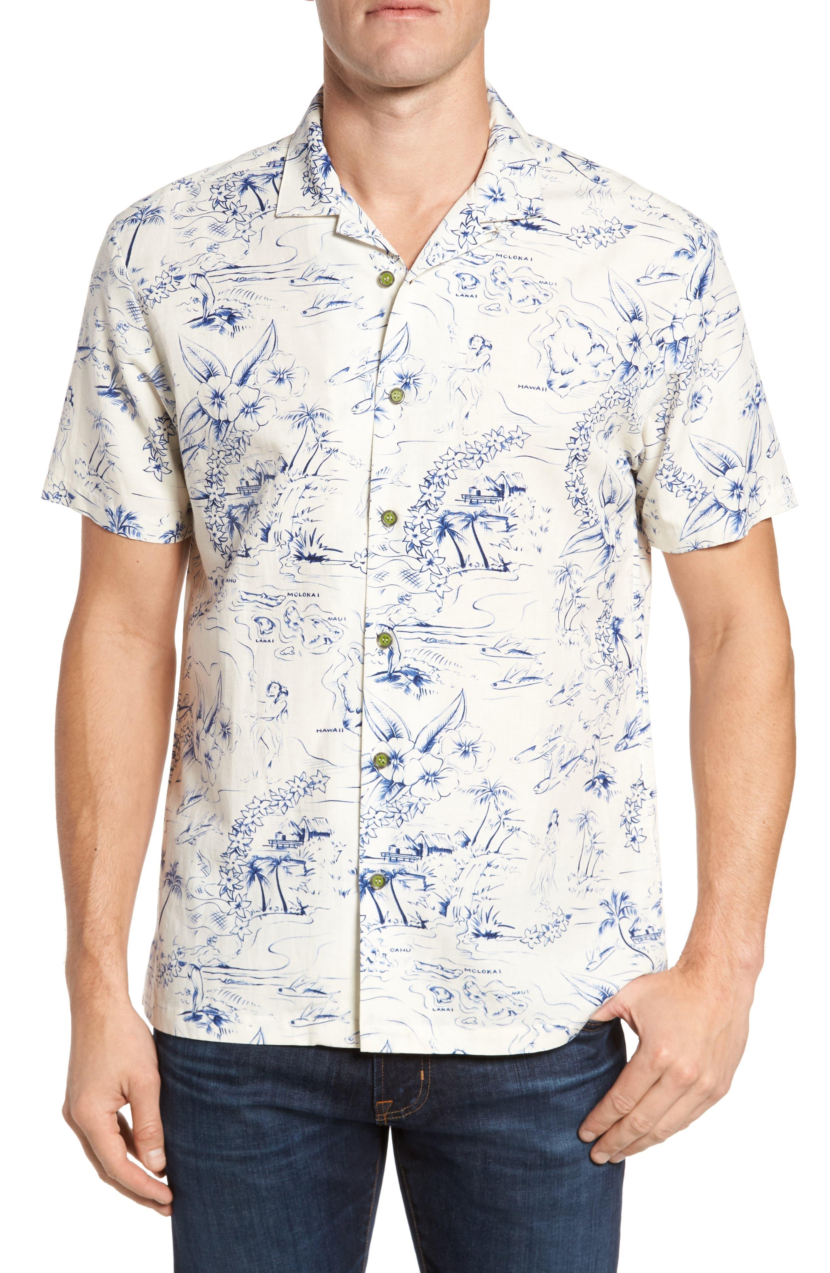 Konohiki Slim Fit Print Sport Shirt,                         Main,                         color, Natural