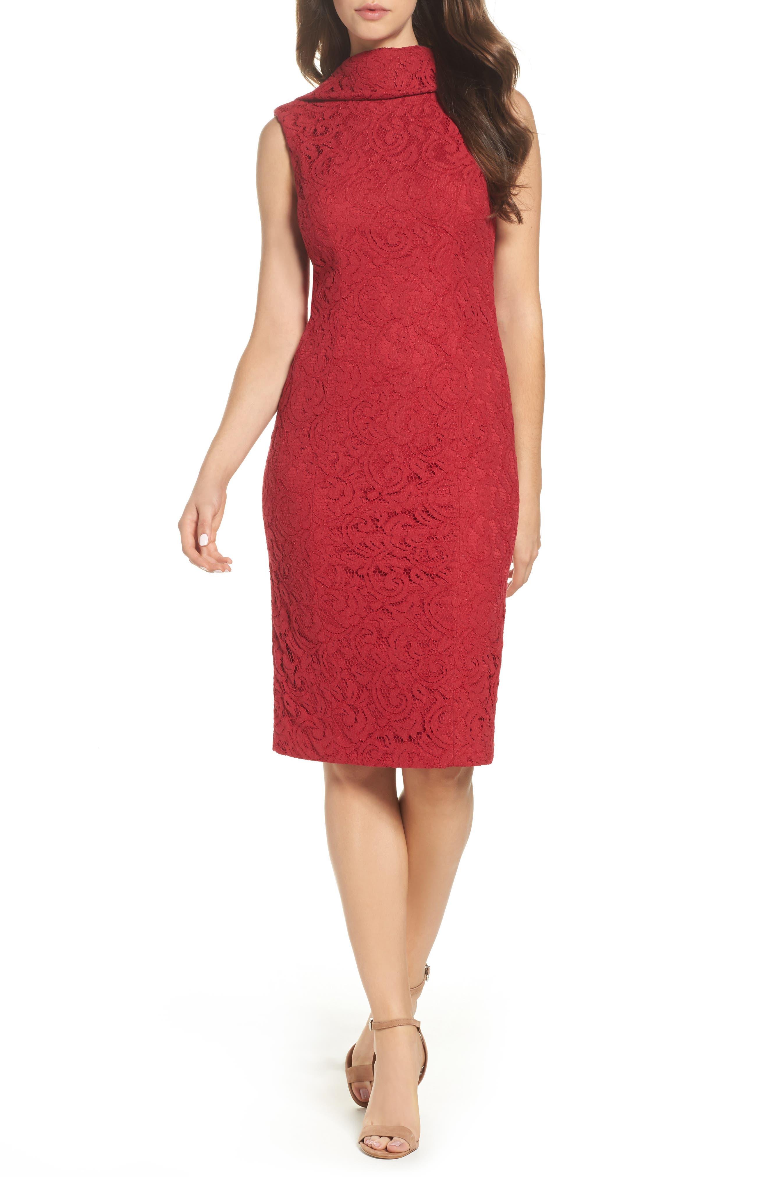 Lace Sheath Dress,                             Main thumbnail 1, color,                             Cherry