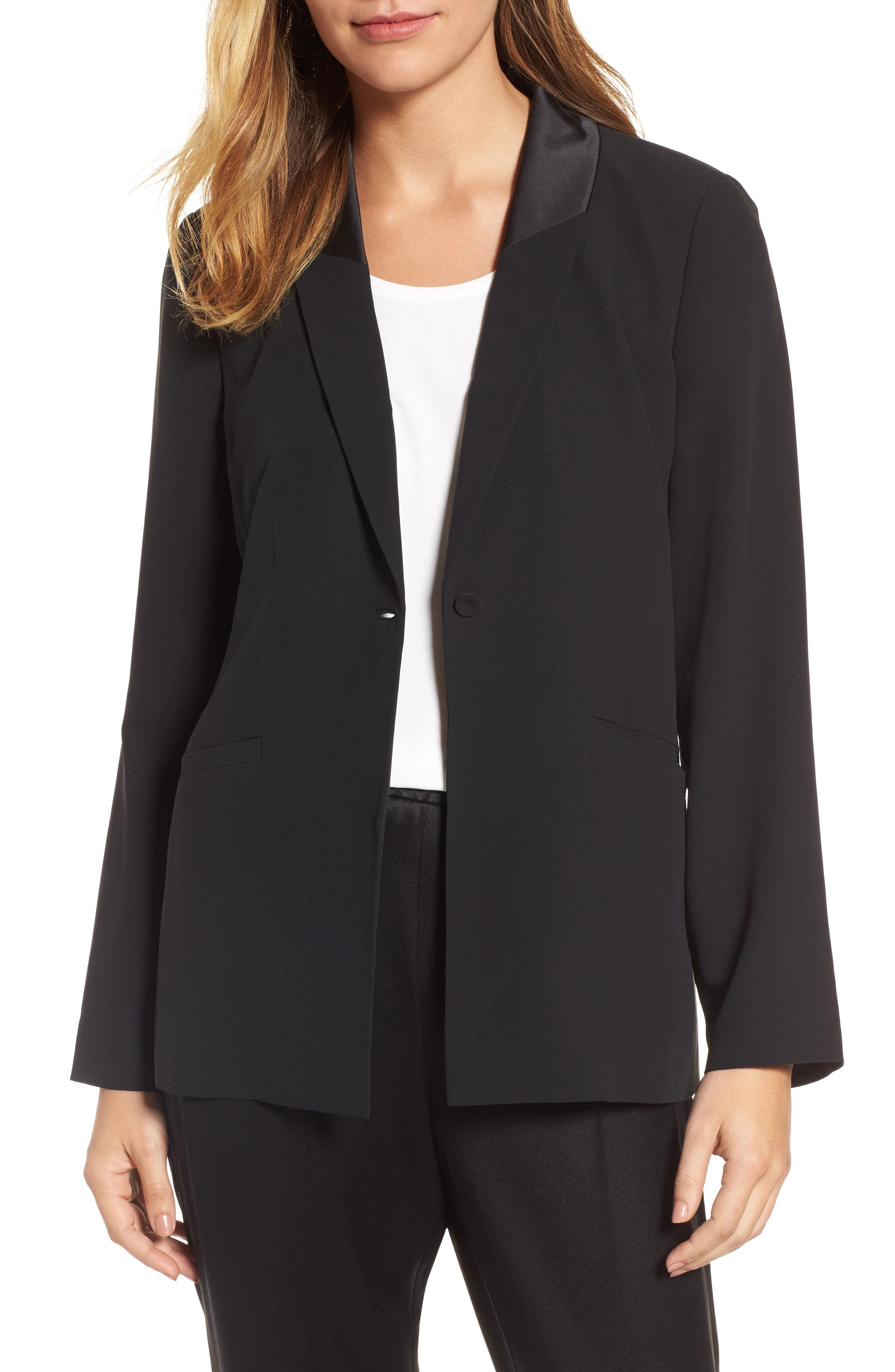 Alternate Image 1 Selected - Eileen Fisher Shawl Collar Silk Jacket