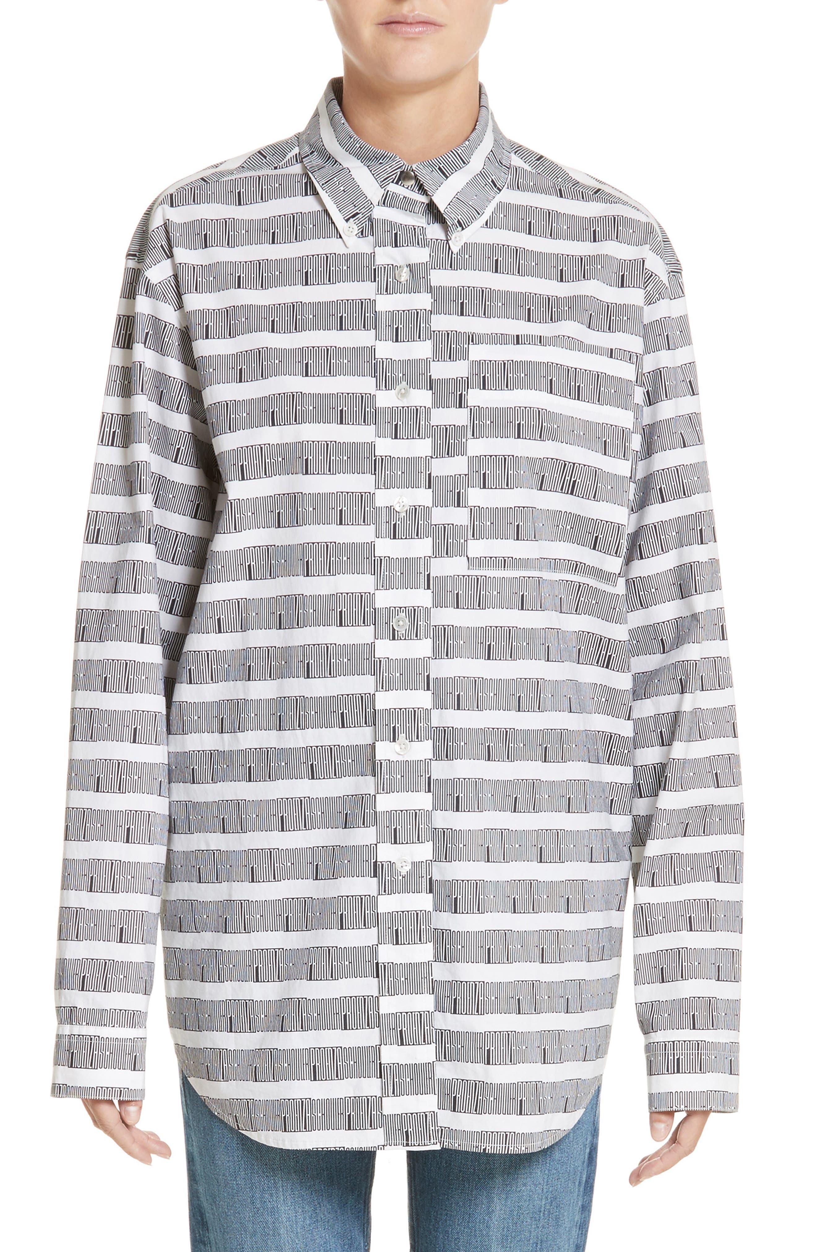 Proenza Schouler PSWL Graphic Stripe Cotton Top