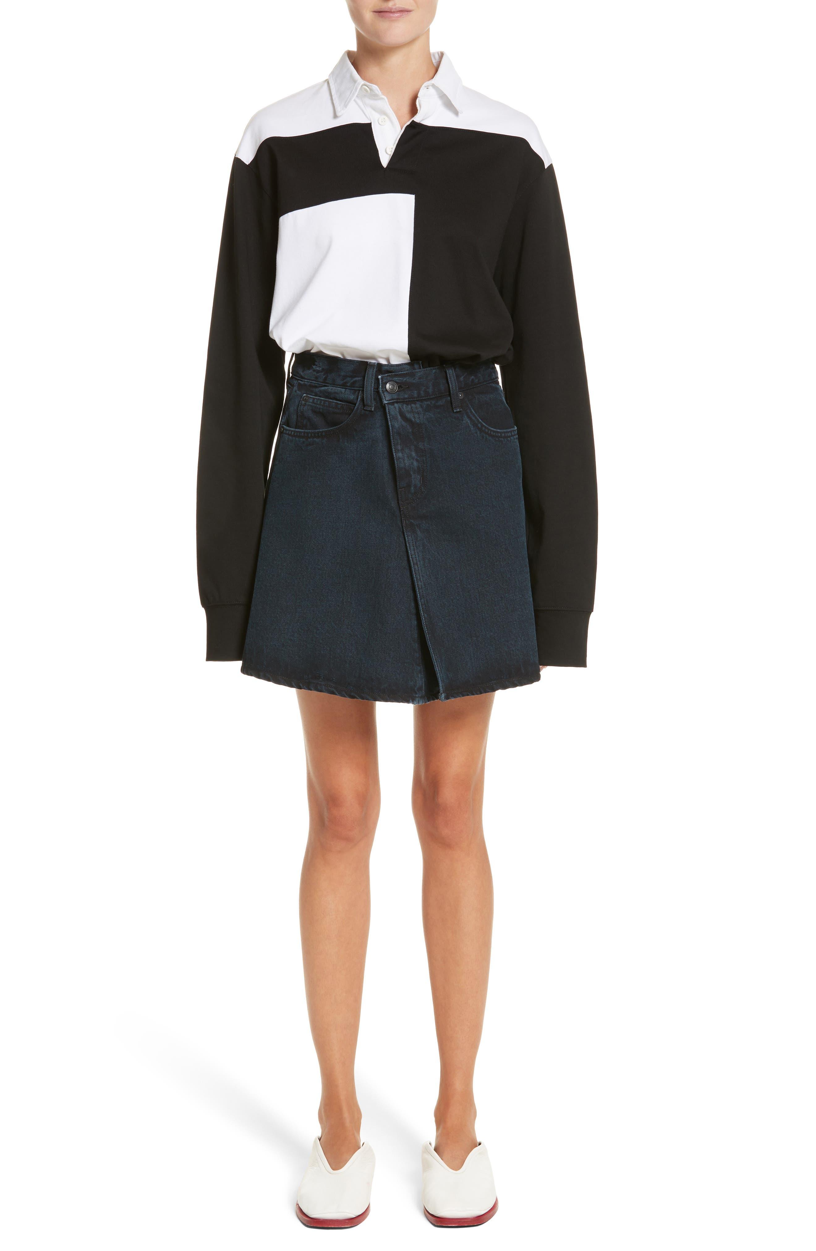 PSWL Folded Denim Skirt,                             Alternate thumbnail 7, color,                             Stone Washed Black