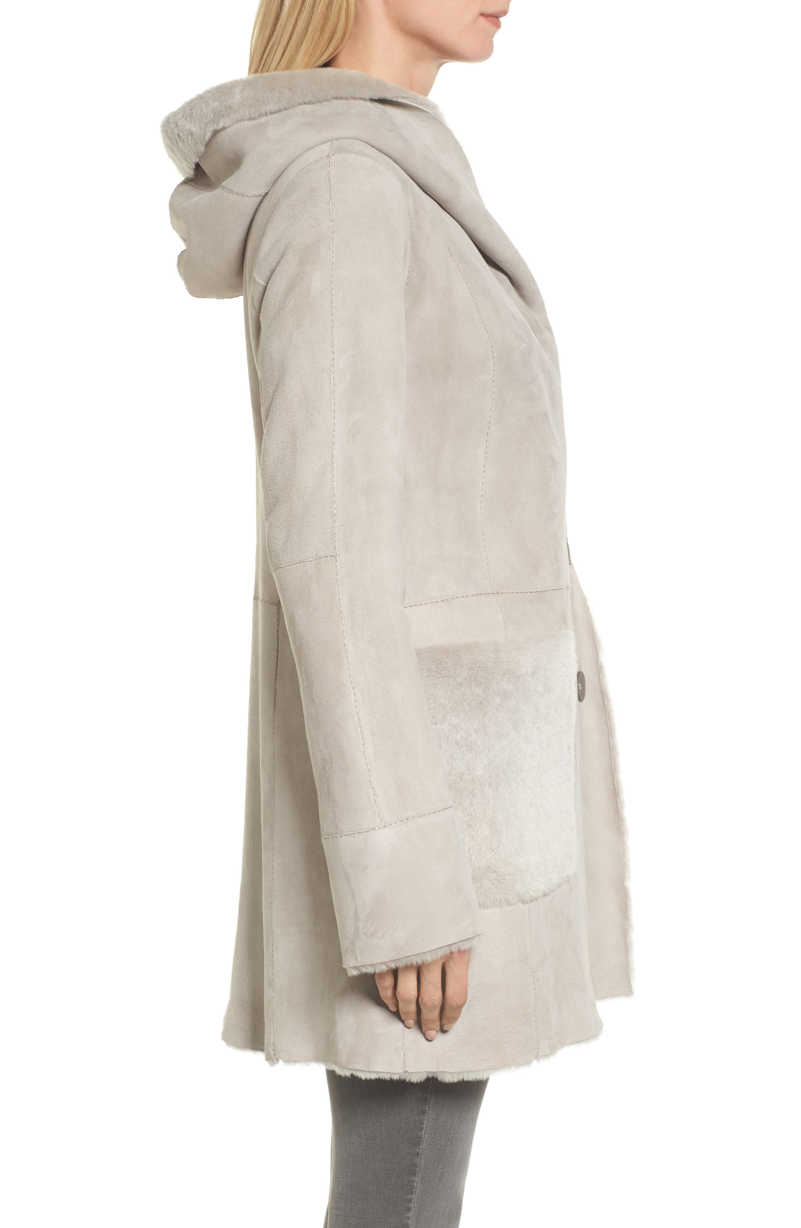 Patch Genuine Shearling Coat,                             Alternate thumbnail 3, color,                             Light Grey