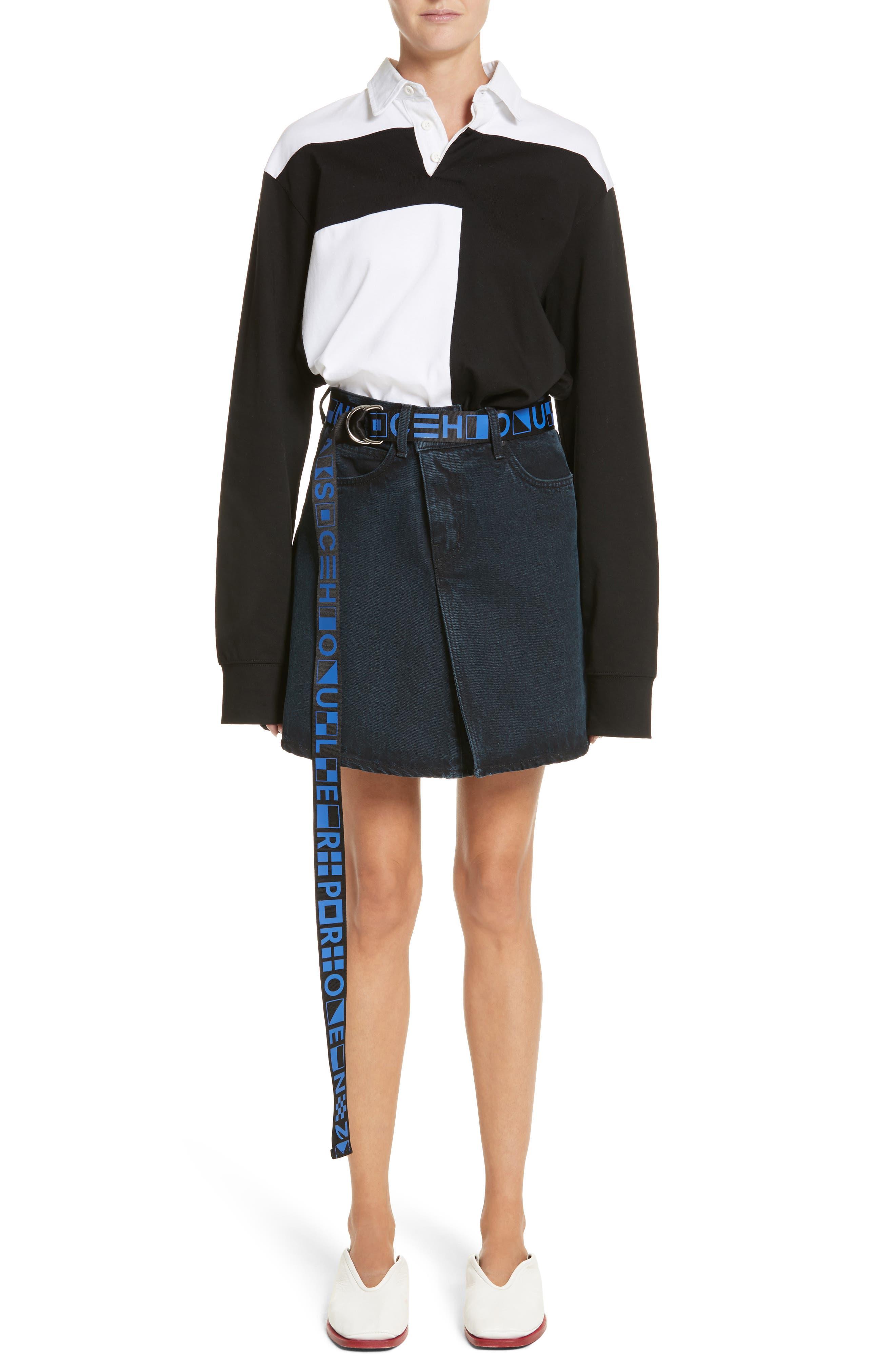 PSWL Folded Denim Skirt,                             Alternate thumbnail 8, color,                             Stone Washed Black