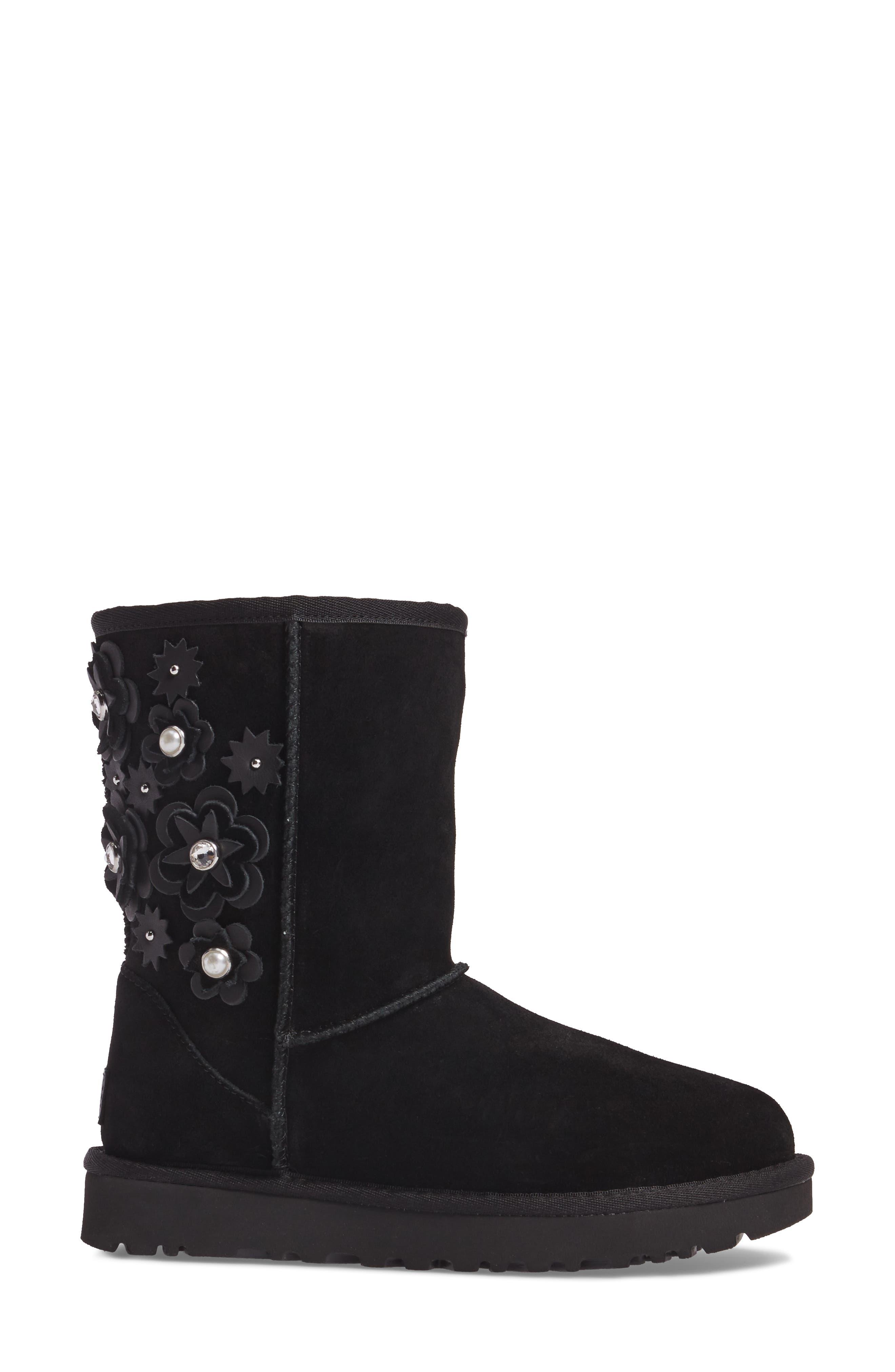 Classic Short Petal Boot,                             Alternate thumbnail 3, color,                             Black Suede