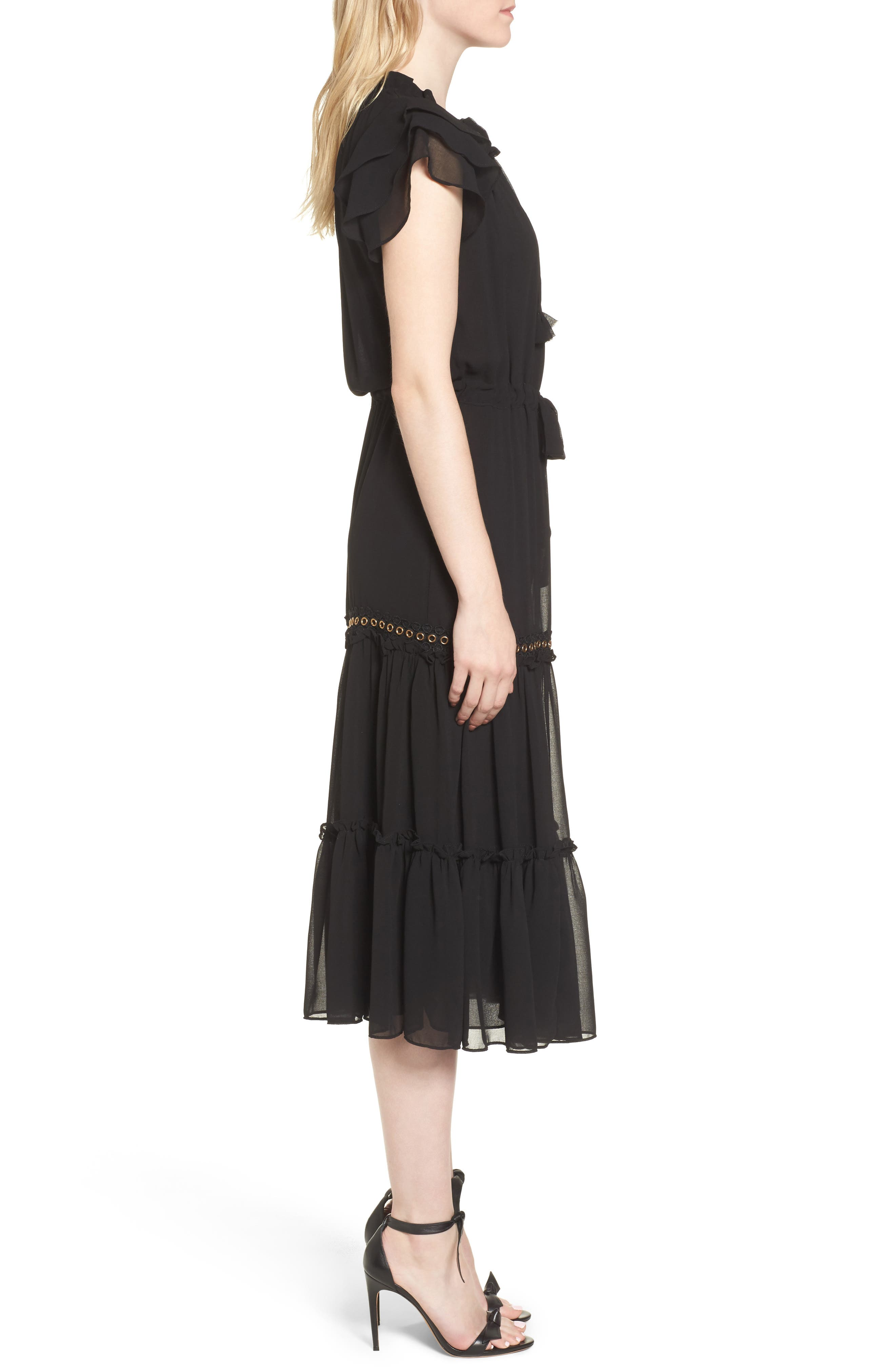 Anis Midi Dress,                             Alternate thumbnail 3, color,                             Ink Black