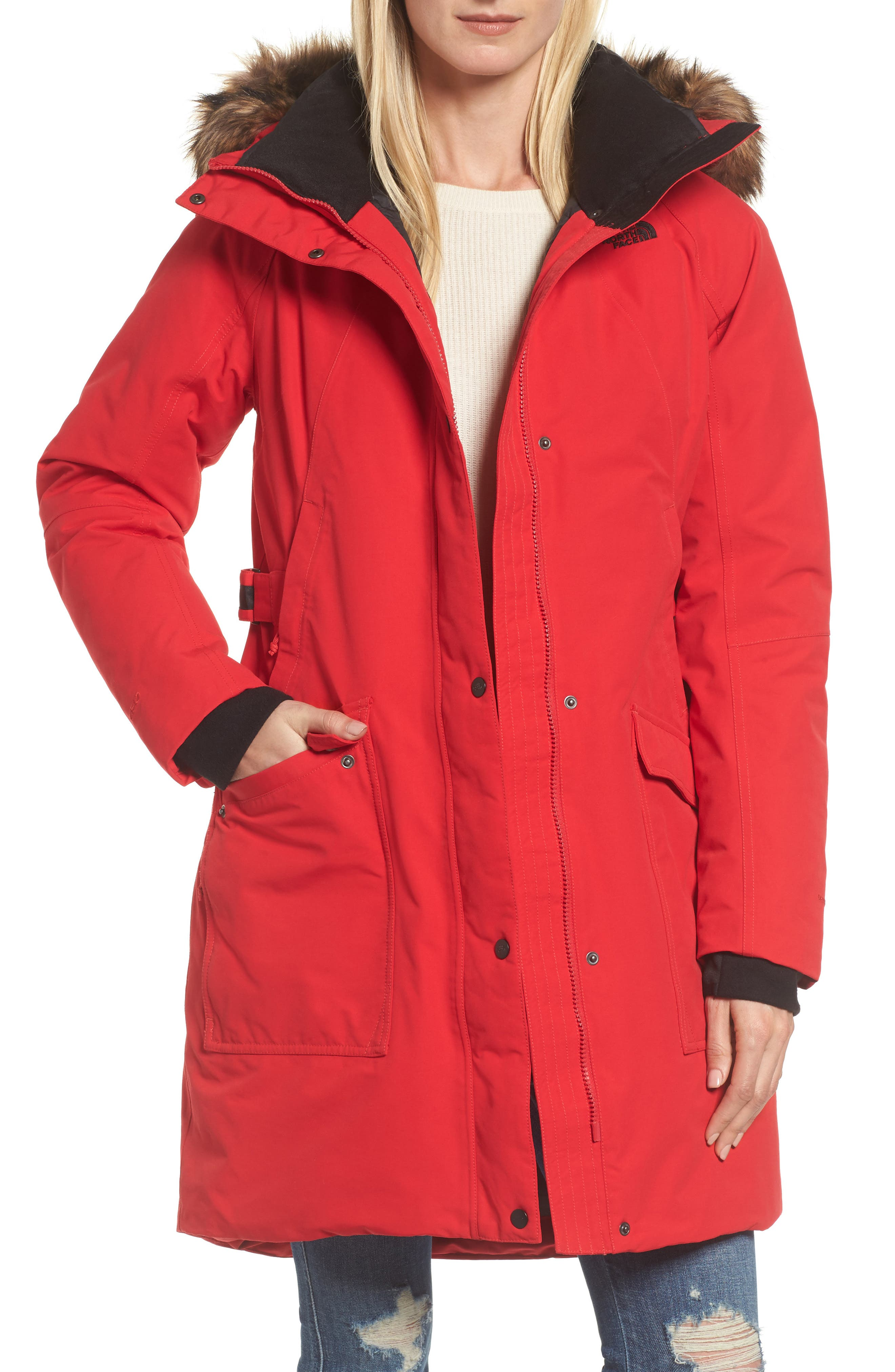 Outer Boroughs Waterproof 550-Fill Power Down Parka with Faux Fur Trim,                         Main,                         color, Tnf Red
