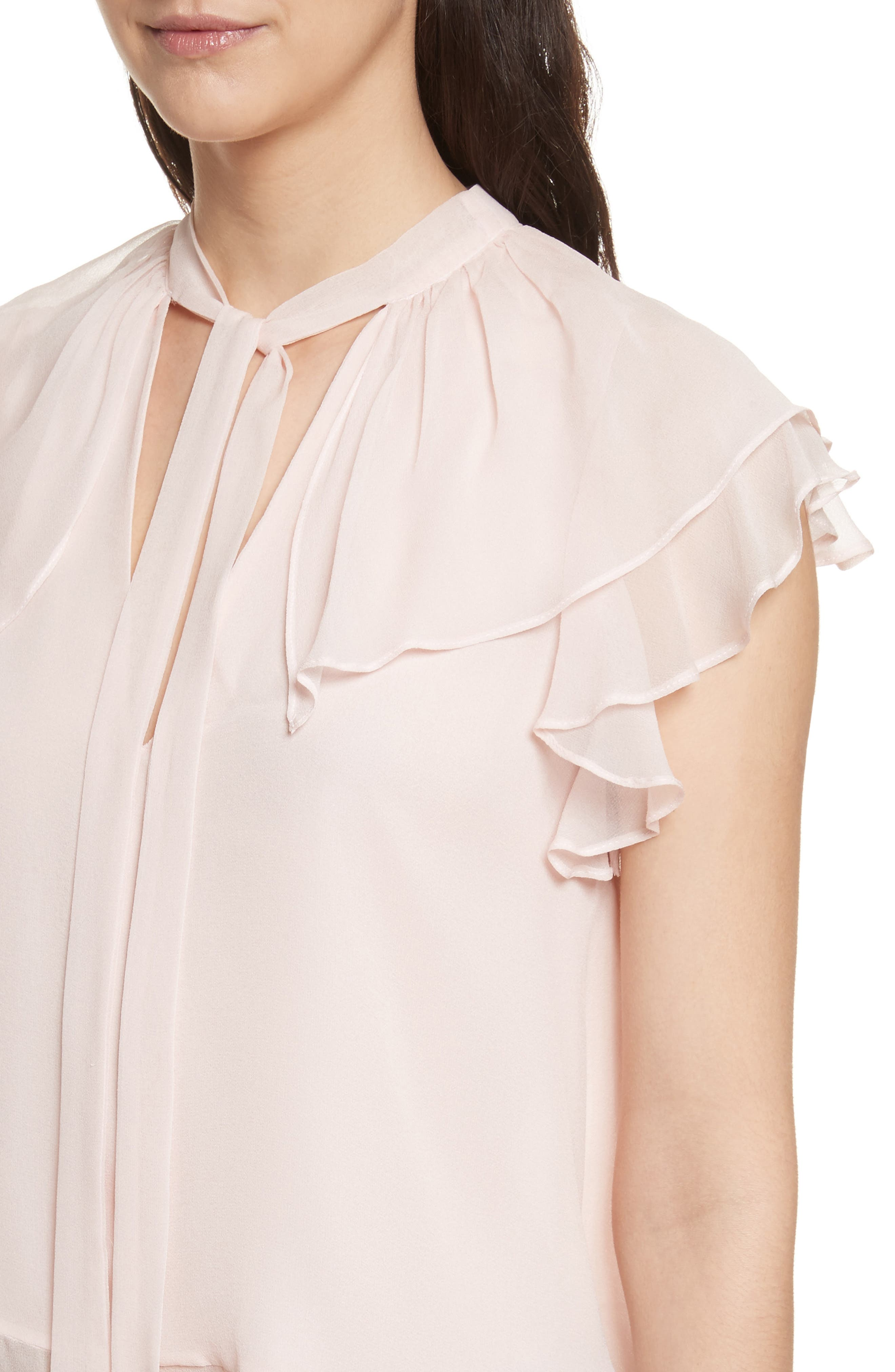 Ronni Tie Neck Top,                             Alternate thumbnail 4, color,                             Light Pink
