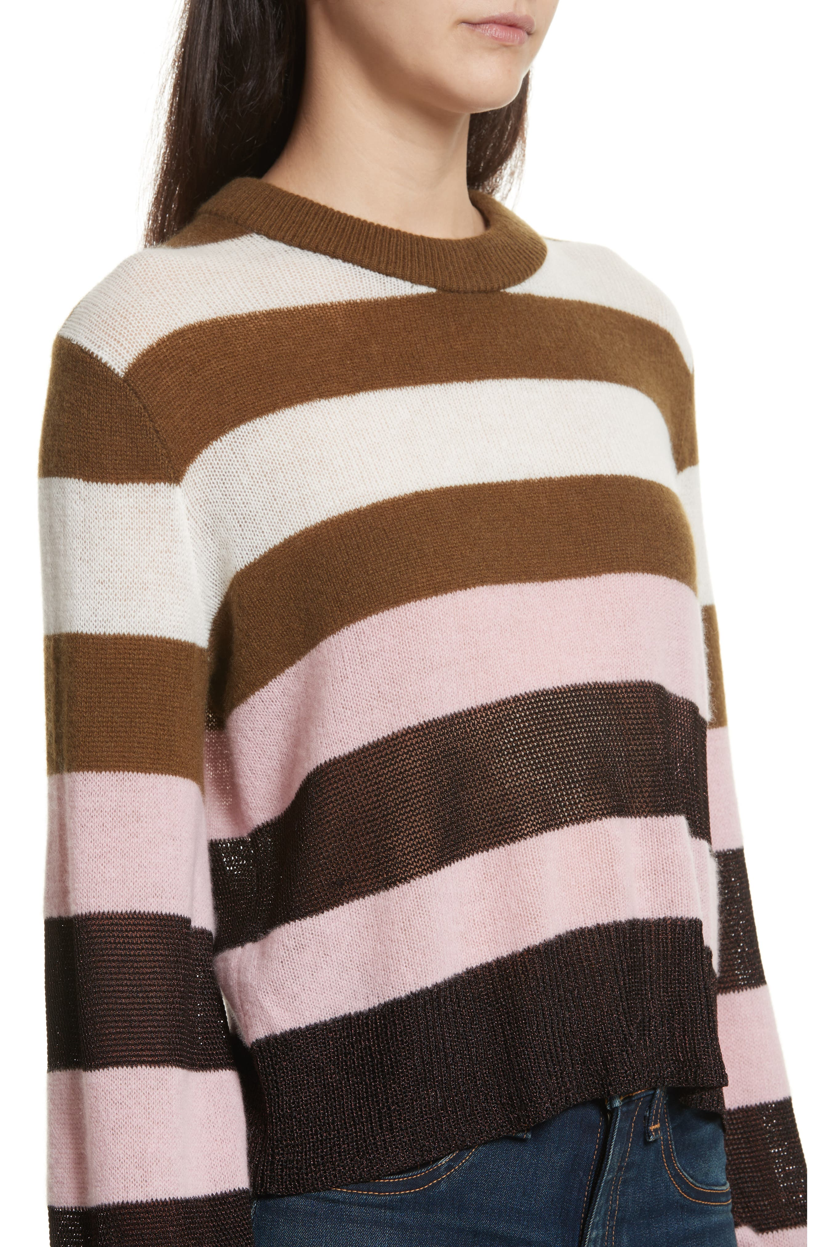 Annika Stripe Sweater,                             Alternate thumbnail 3, color,                             Pink Multi