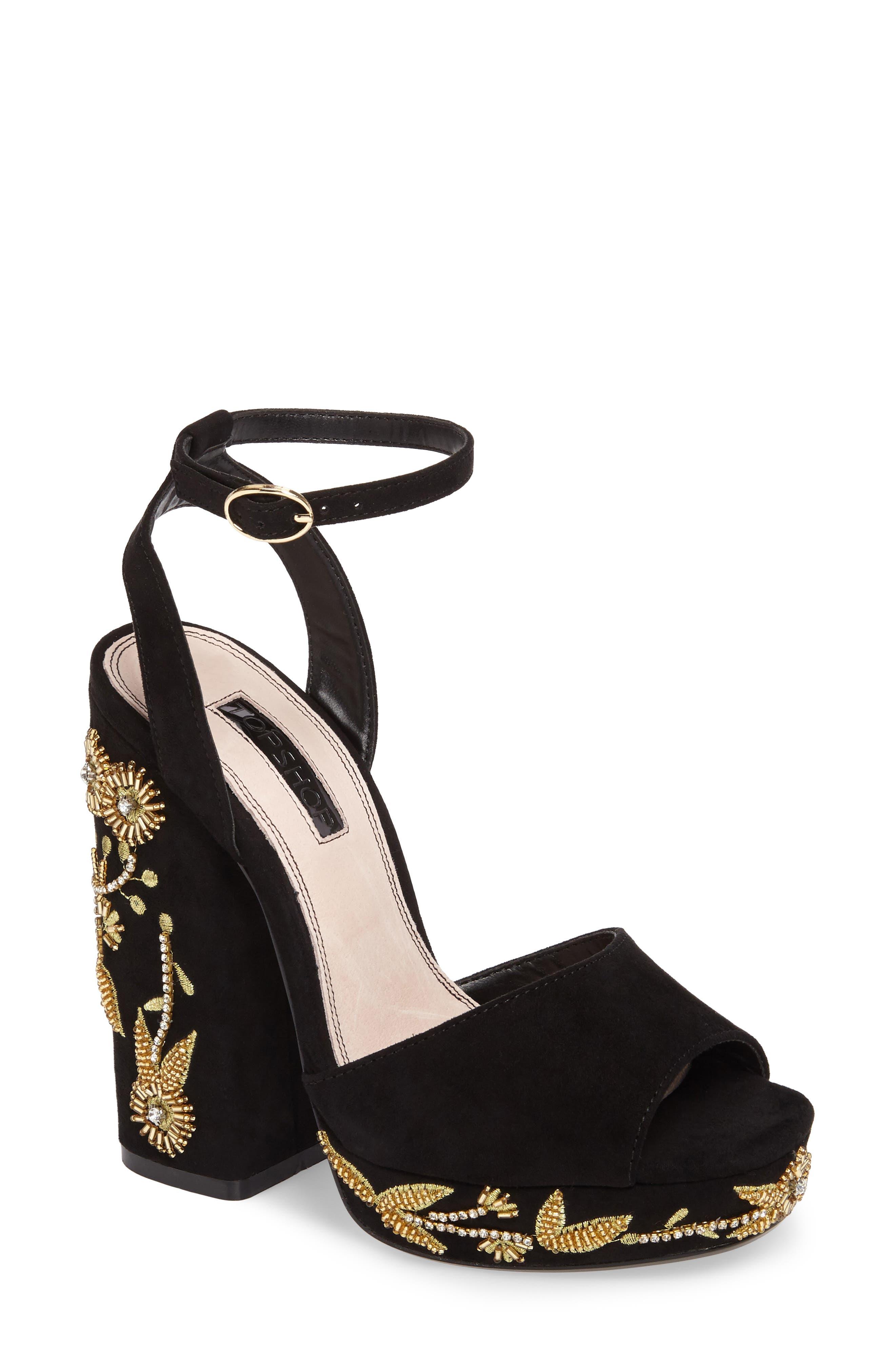 Topshop Lavish Beaded Platform Sandal (Women)