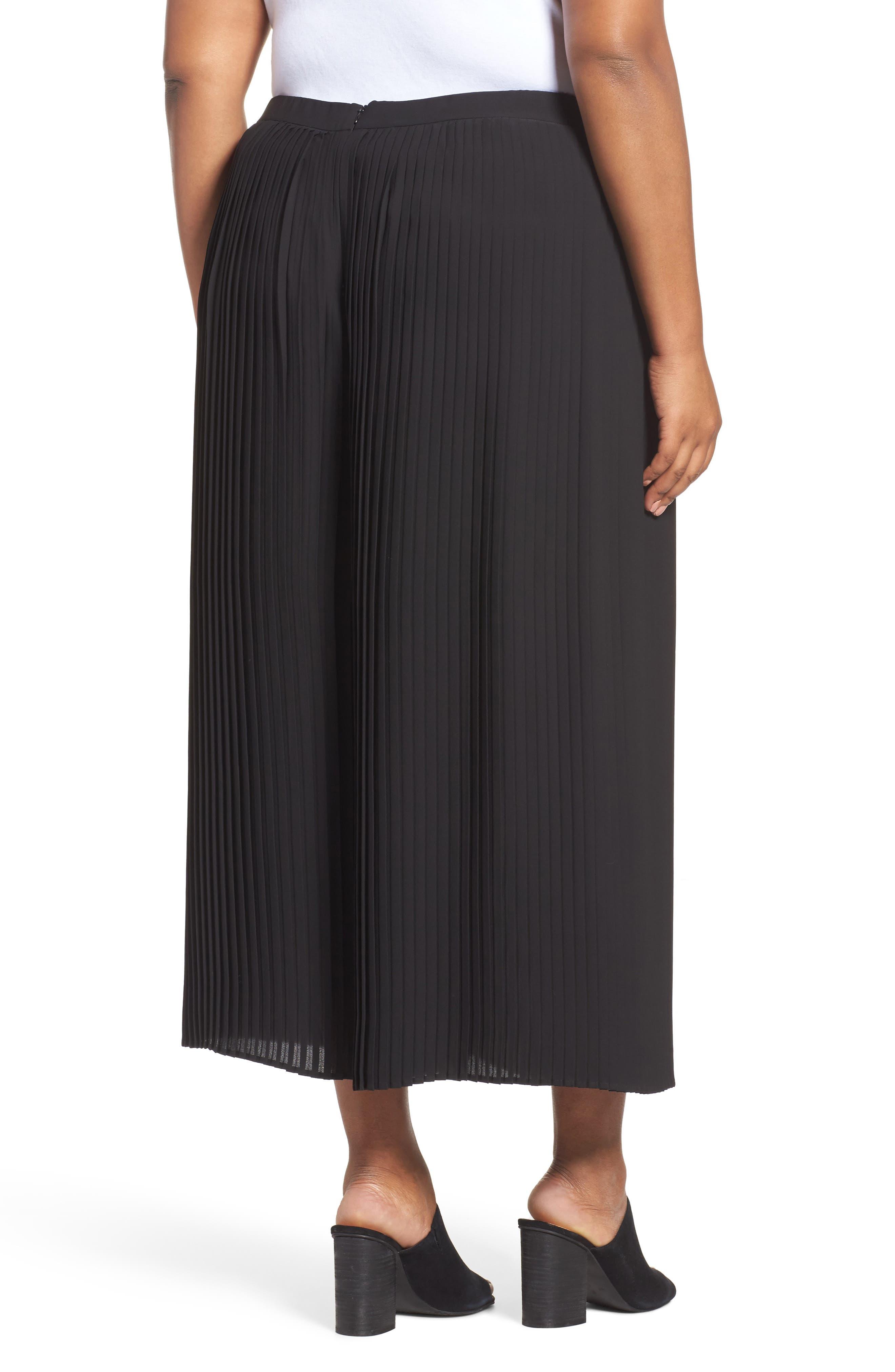 Pleat Wide Leg Ankle Pants,                             Alternate thumbnail 2, color,                             Black