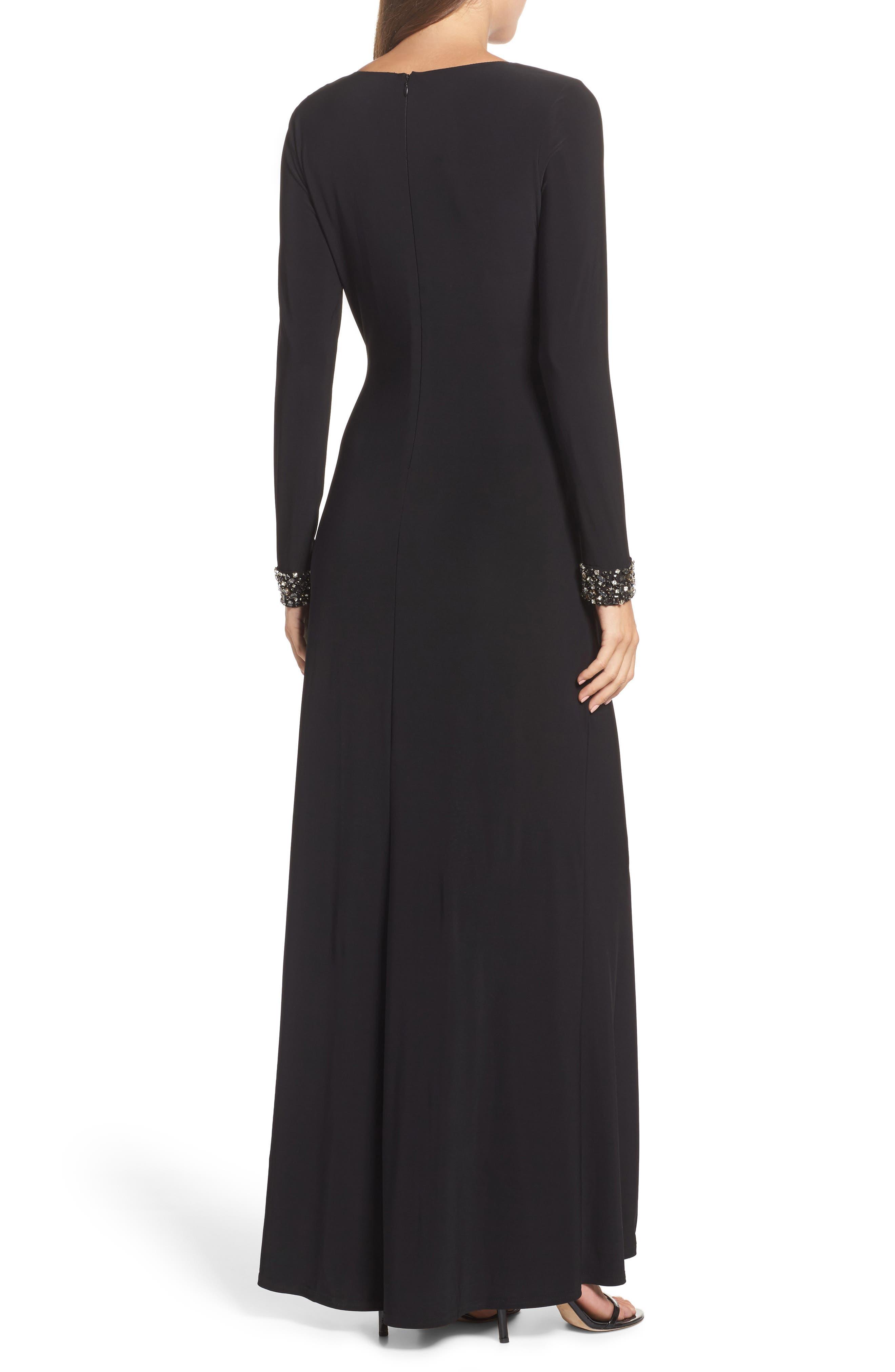 Embellished Side Tuck Jersey Gown,                             Alternate thumbnail 2, color,                             Black