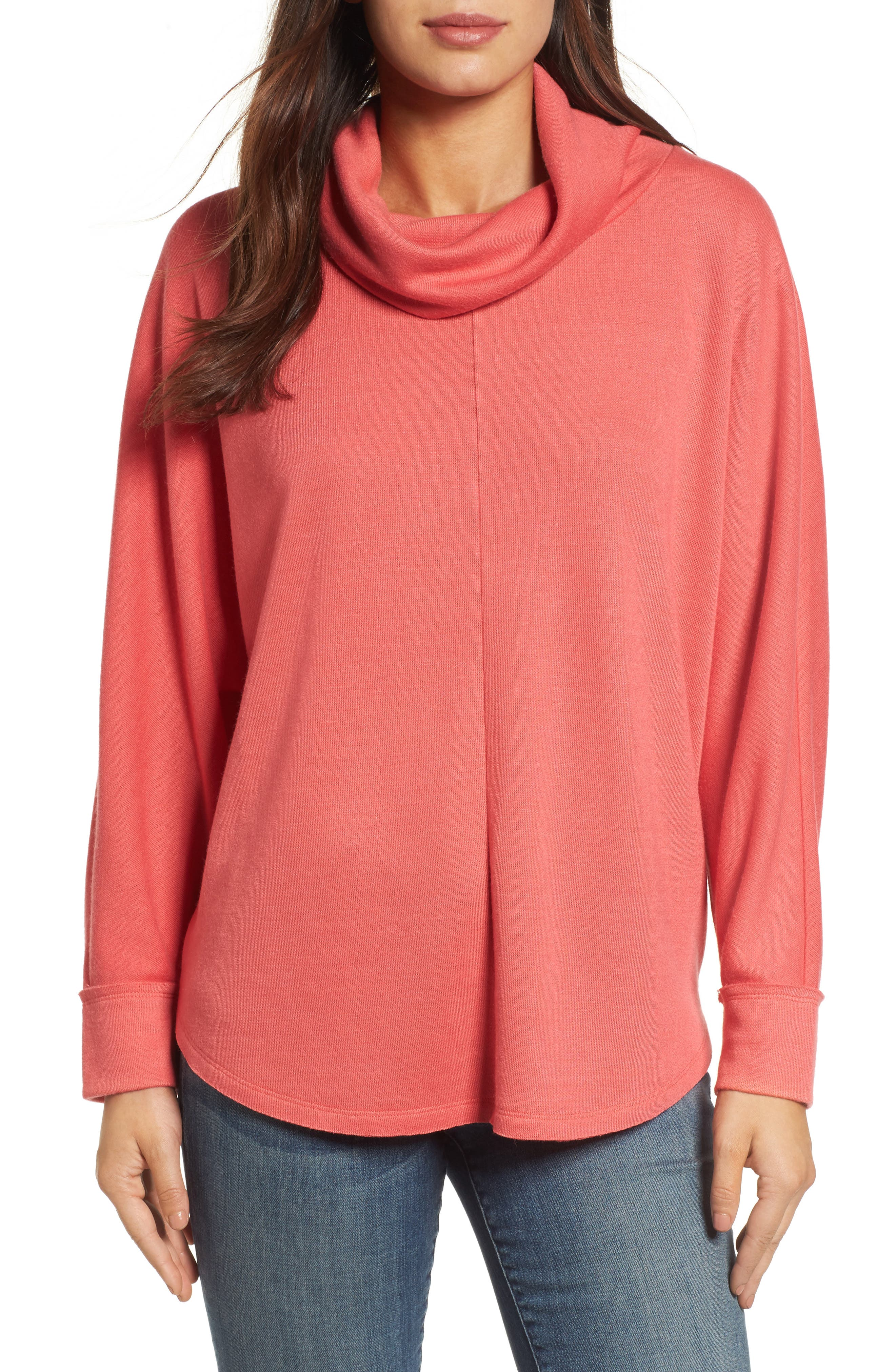 Cowl Neck Pullover,                             Main thumbnail 1, color,                             Coral Sea