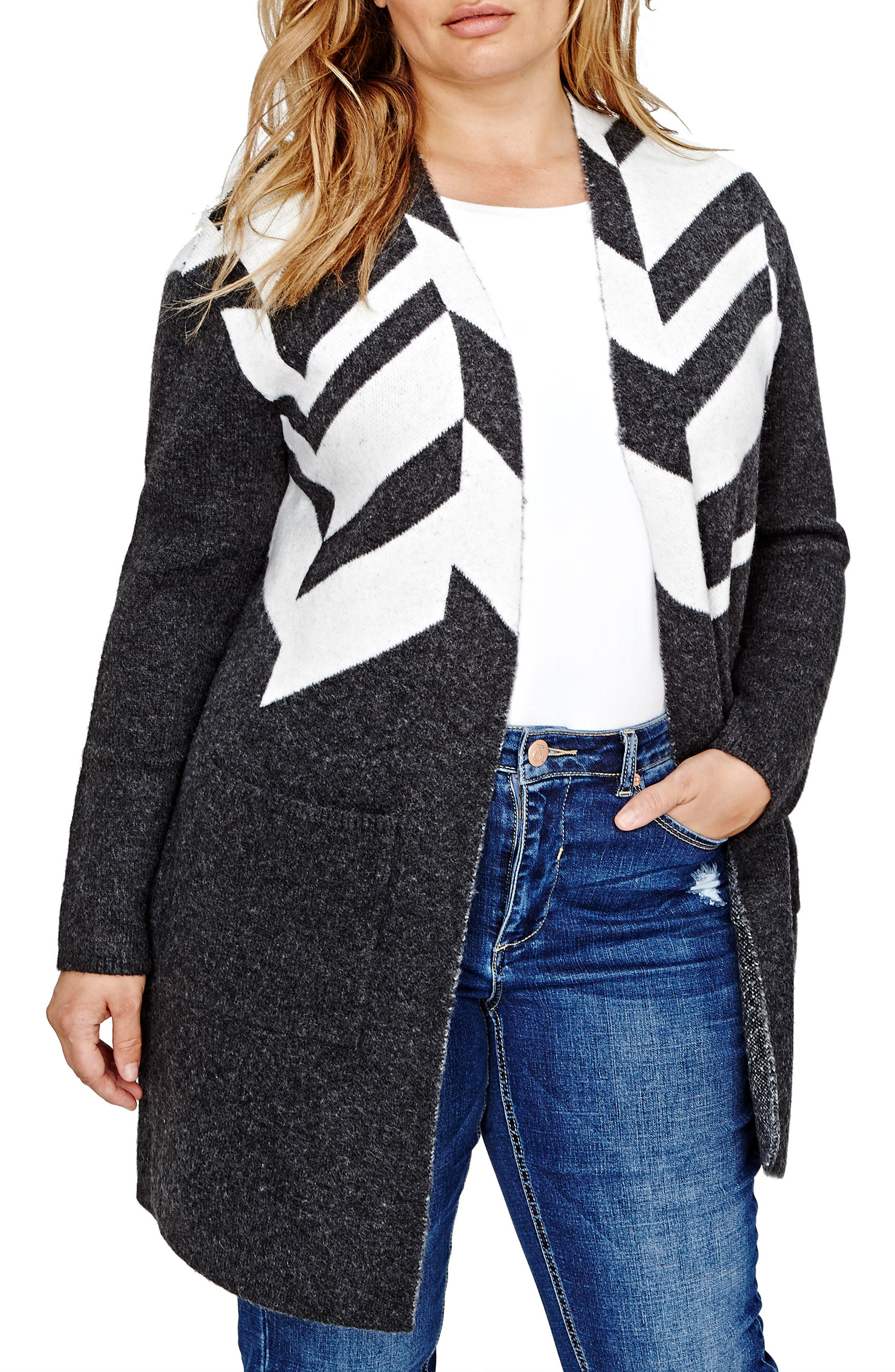 ADDITION ELLE LOVE AND LEGEND Patterned Sweater Coat (Plus Size)