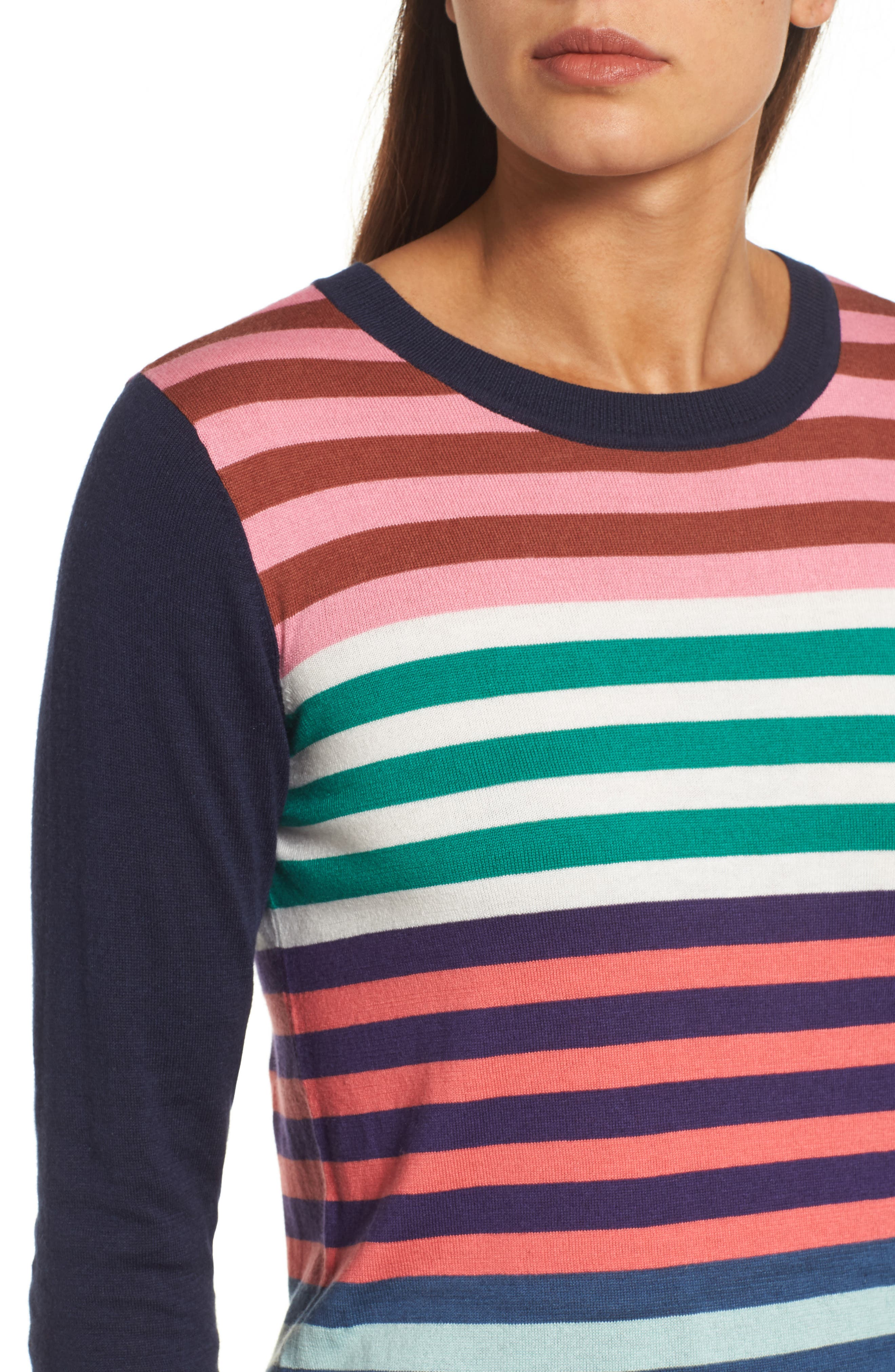 Colorblock Stripe Sweater,                             Alternate thumbnail 4, color,                             Coral Multi Stripe