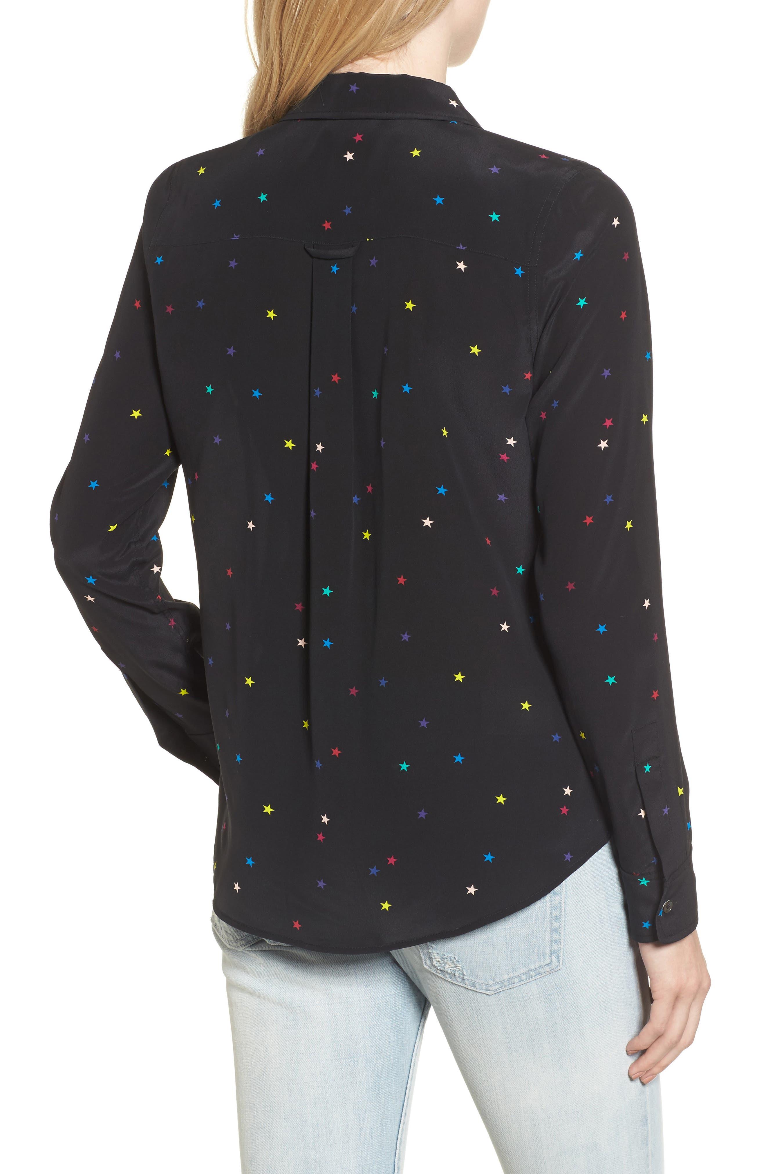 Kate Star Print Silk Blouse,                             Alternate thumbnail 2, color,                             Rainbow Stars/ Black