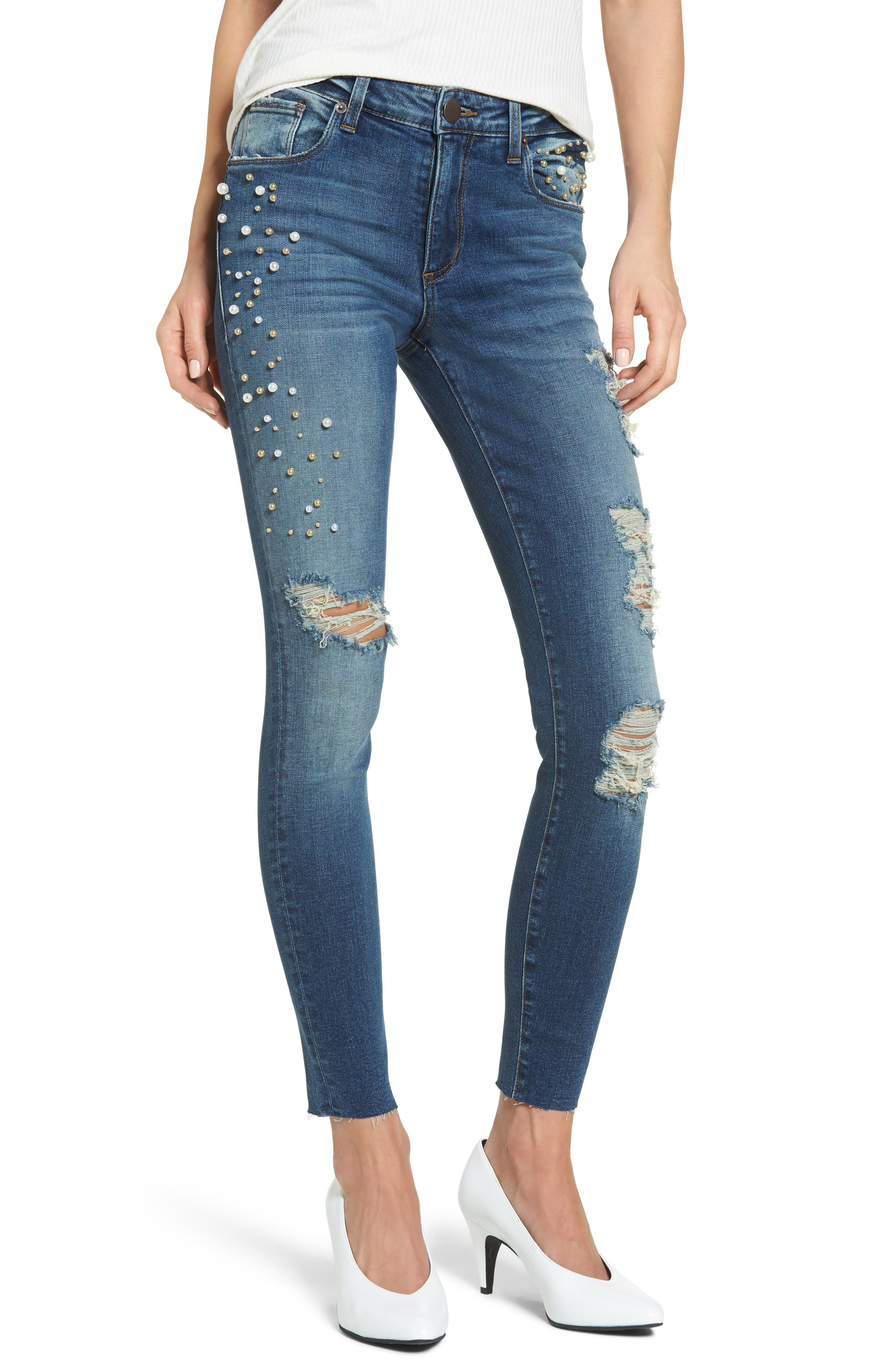 Piper Pearly Detail Ankle Skinny Jeans,                         Main,                         color, Longworth