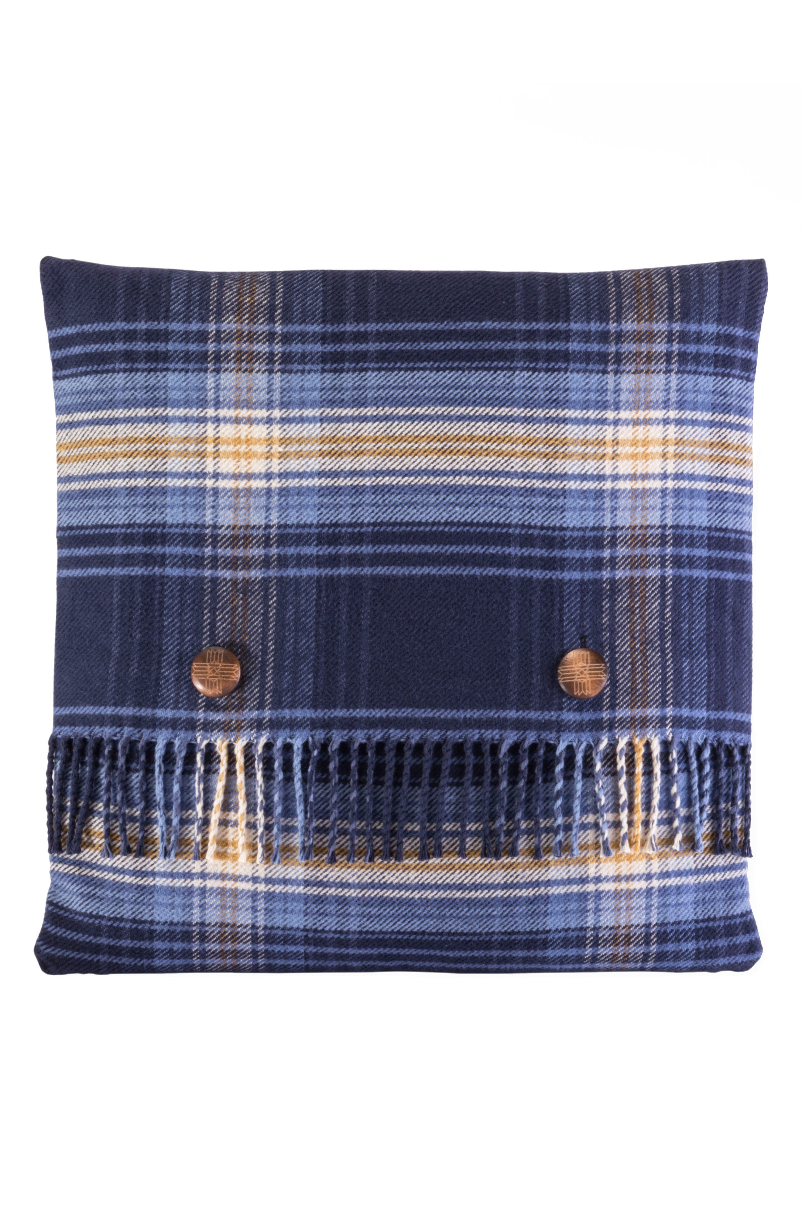 Ombre Plaid Pillow,                         Main,                         color, Blue And Gold