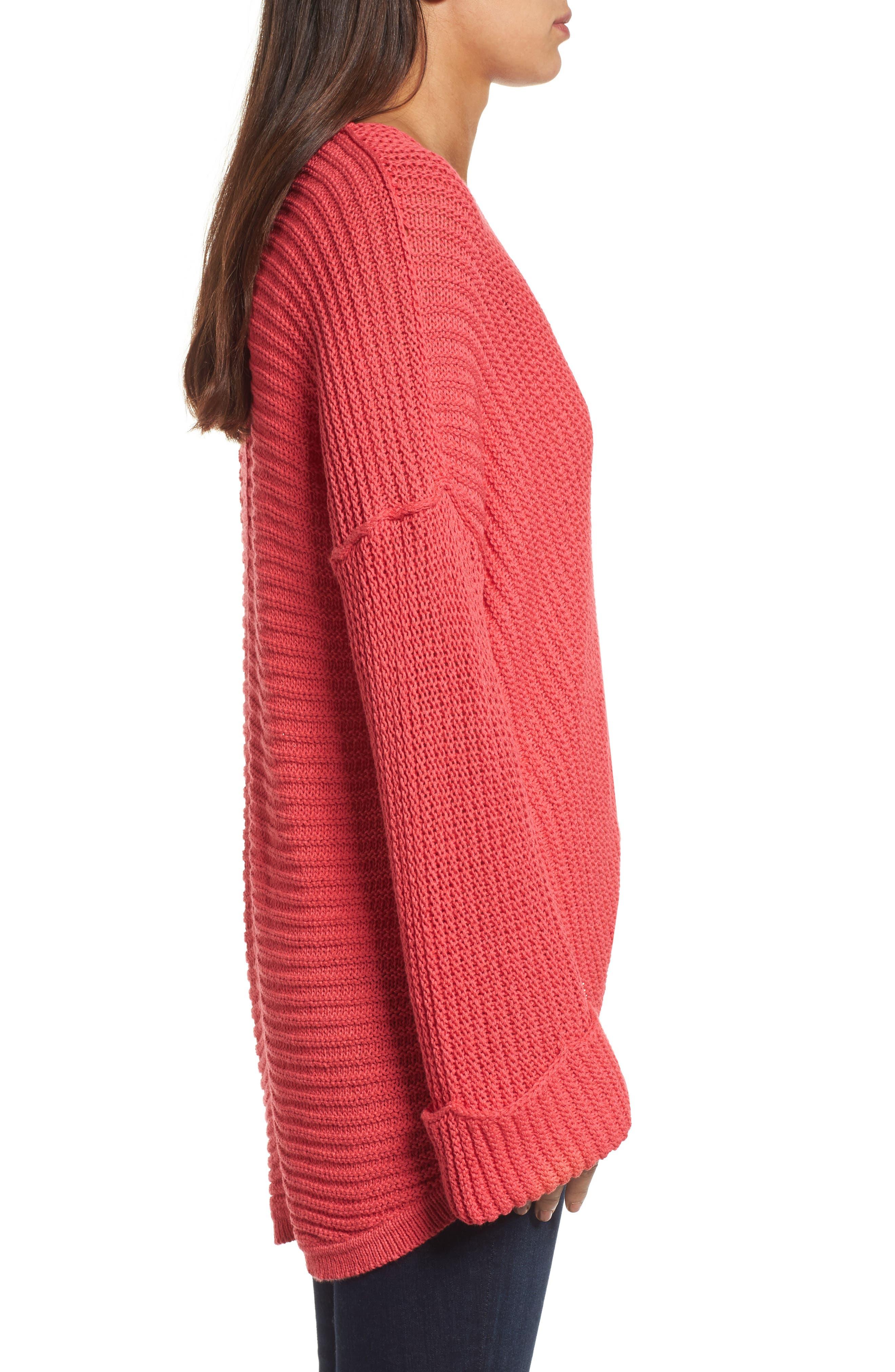 Alternate Image 3  - Caslon® Cuffed Sleeve Sweater (Regular & Petite)