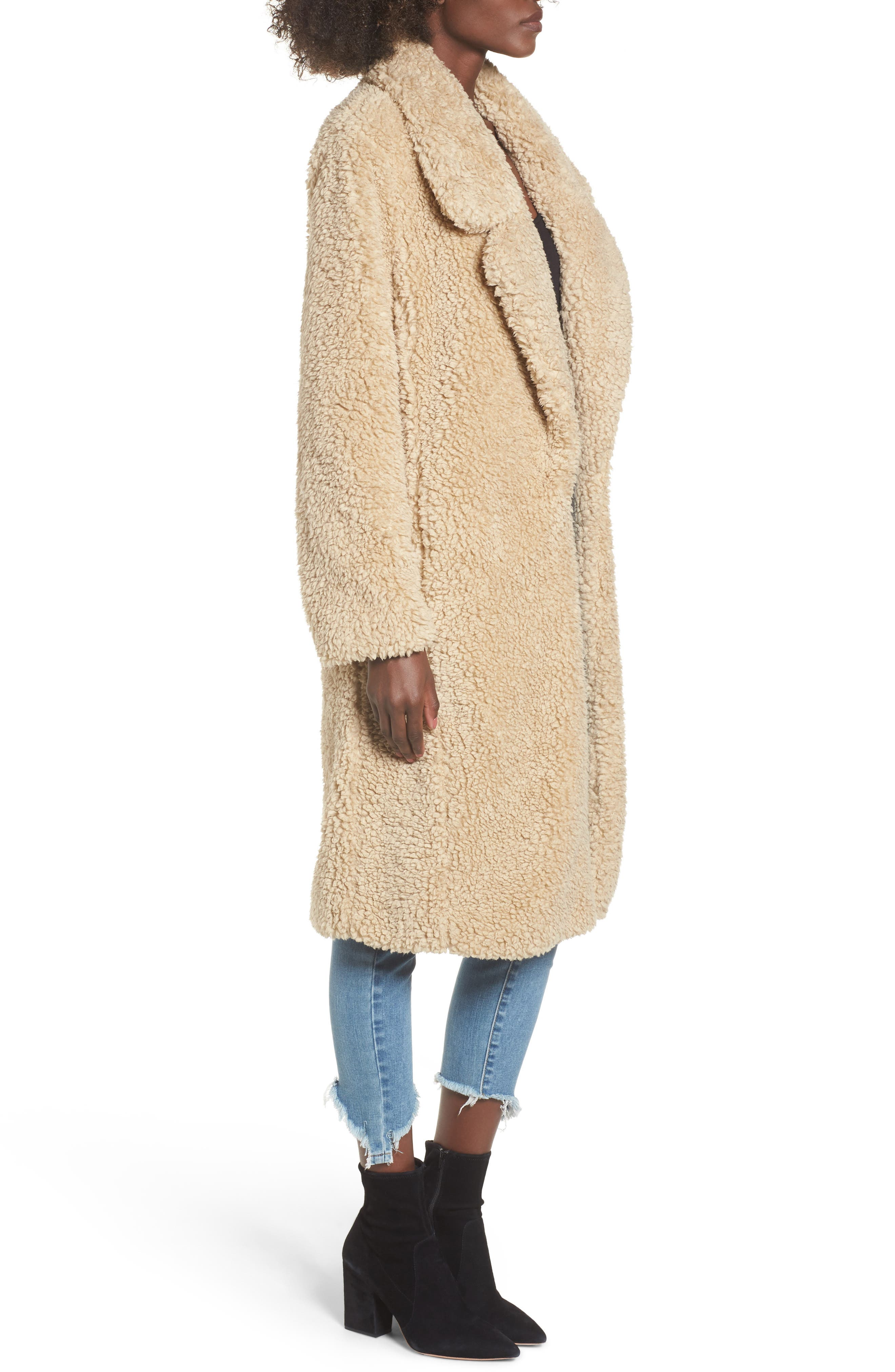 Violet Teddy Bear Coat,                             Alternate thumbnail 3, color,                             Beige