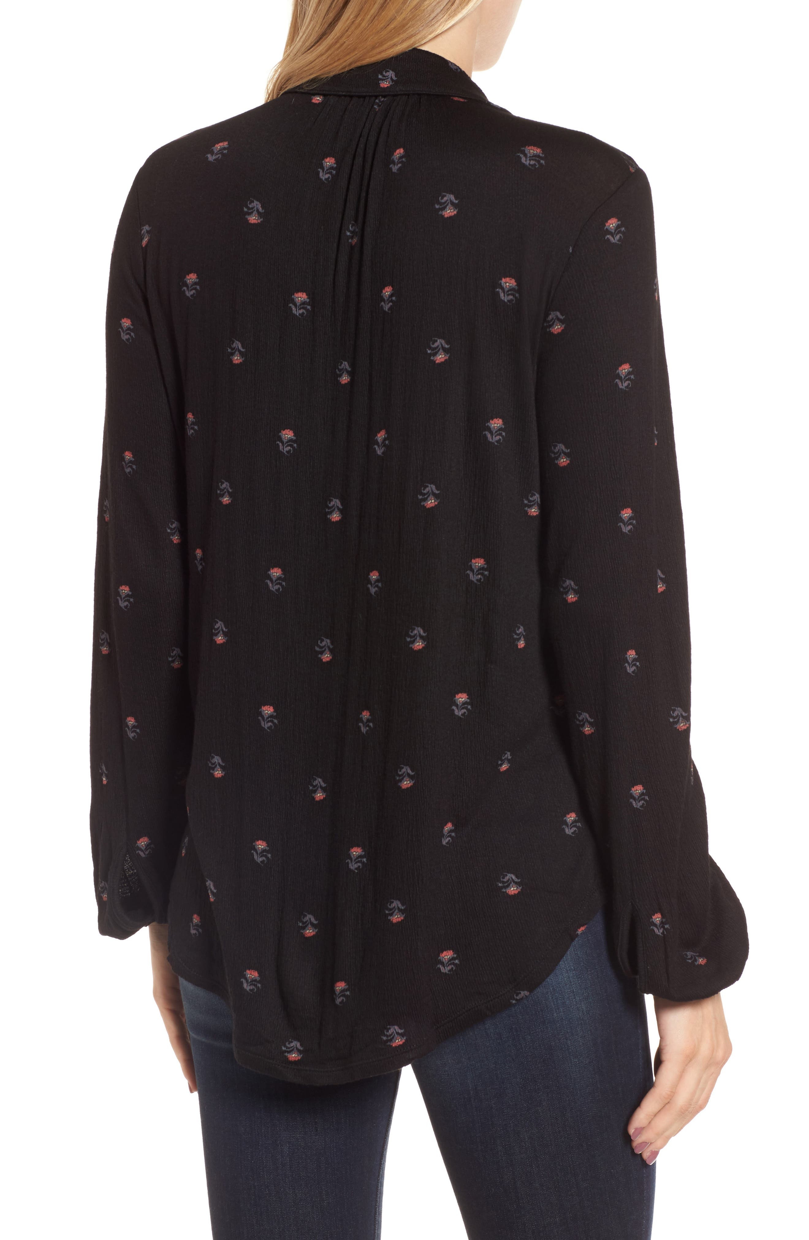 Ditsy Button-Up Shirt,                             Alternate thumbnail 2, color,                             Black Multi