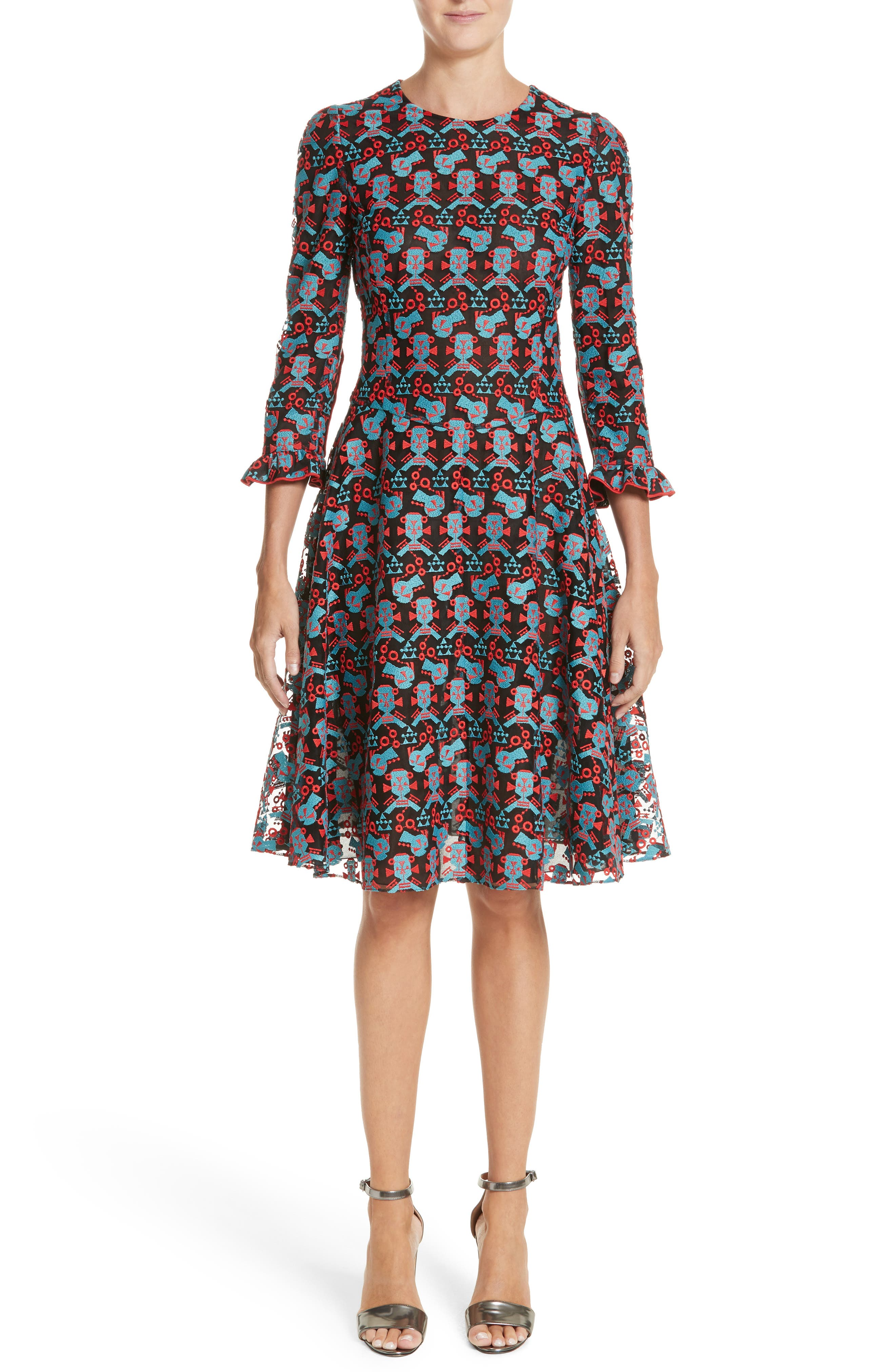 Embroidered Fit & Flare Dress,                         Main,                         color, Red/ Blue/ Black