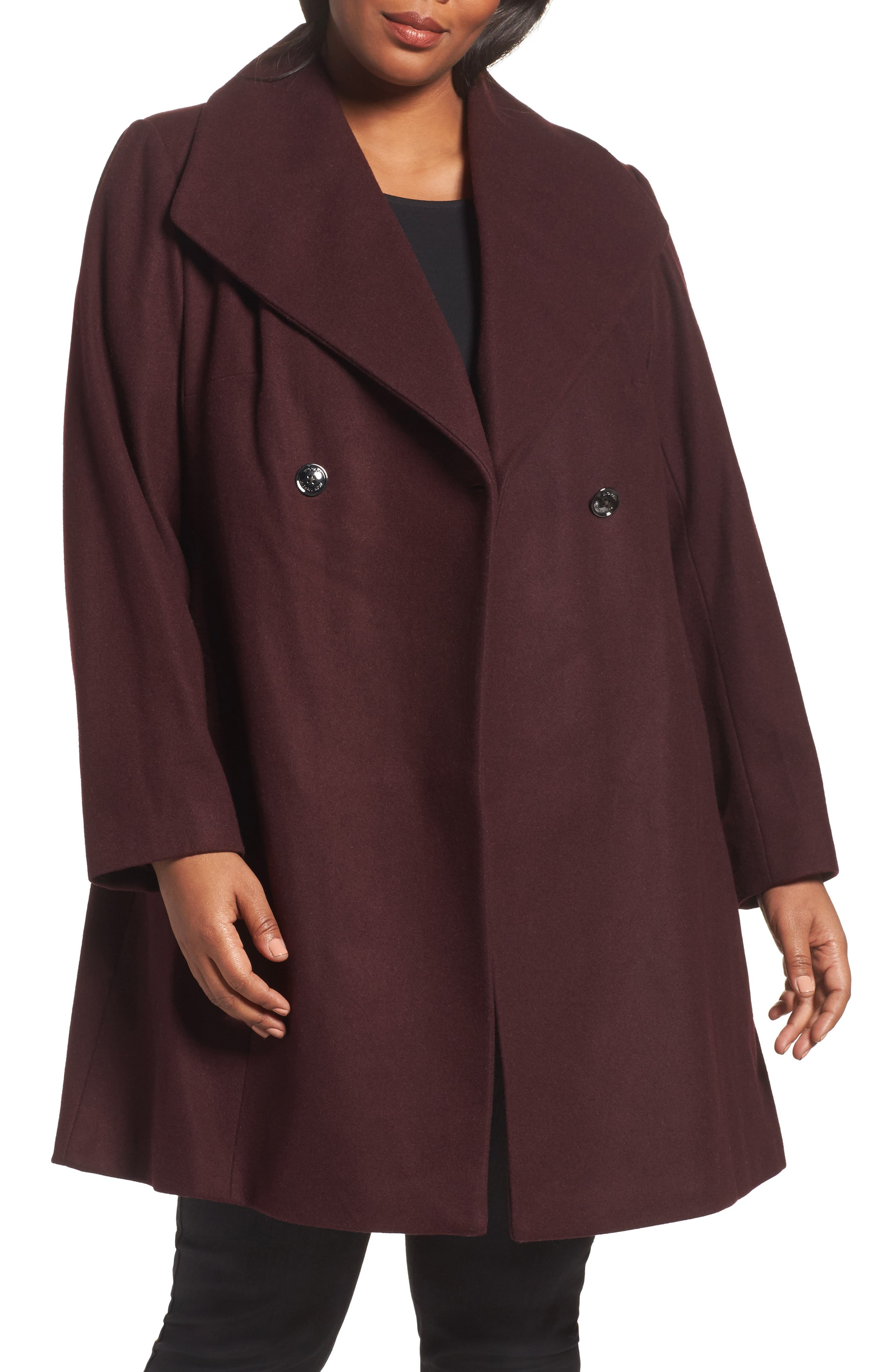Double Breasted Swing Coat,                         Main,                         color, Burgundy