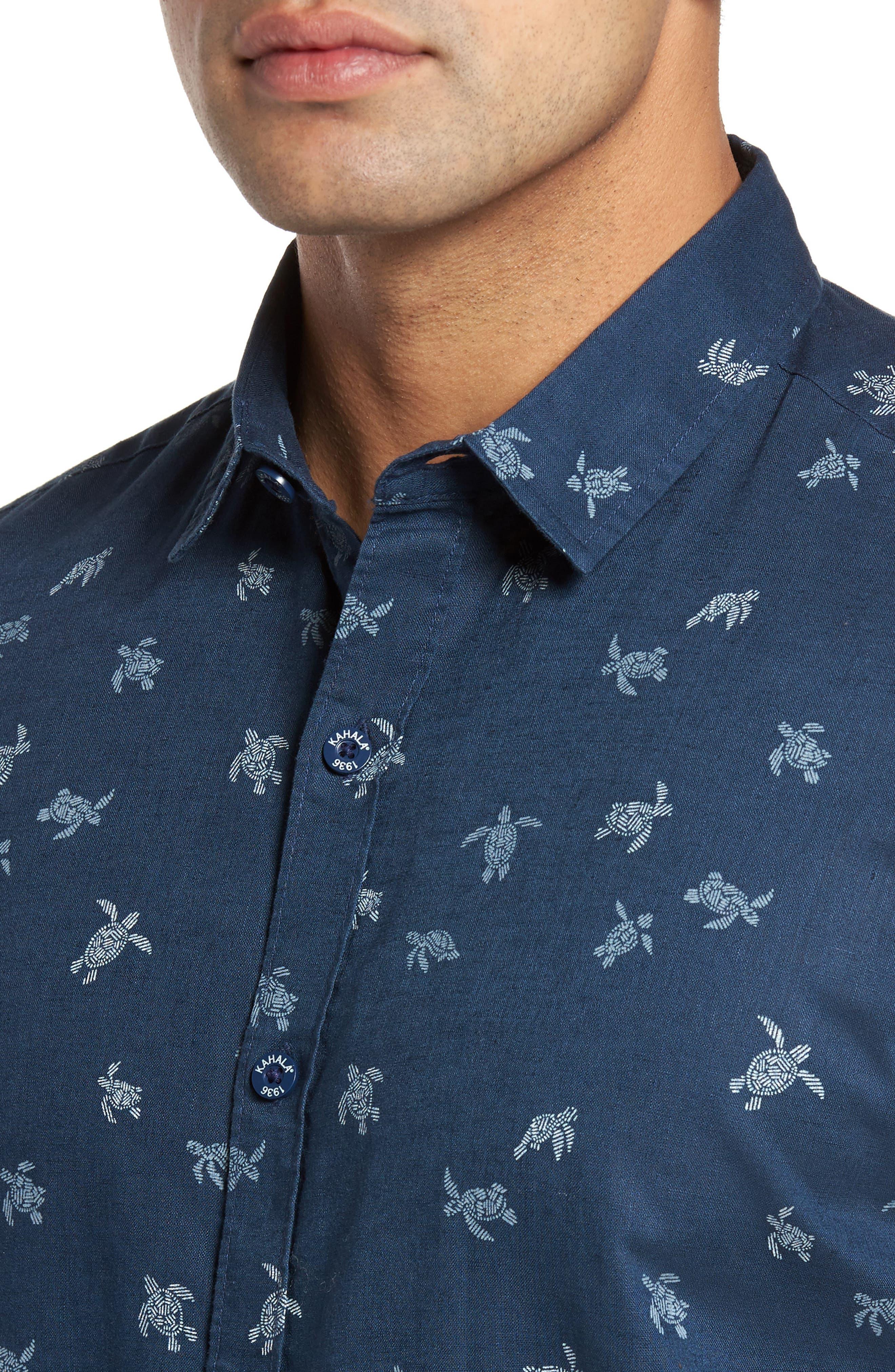 Honu La Hanai Trim Fit Print Sport Shirt,                             Alternate thumbnail 4, color,                             Navy