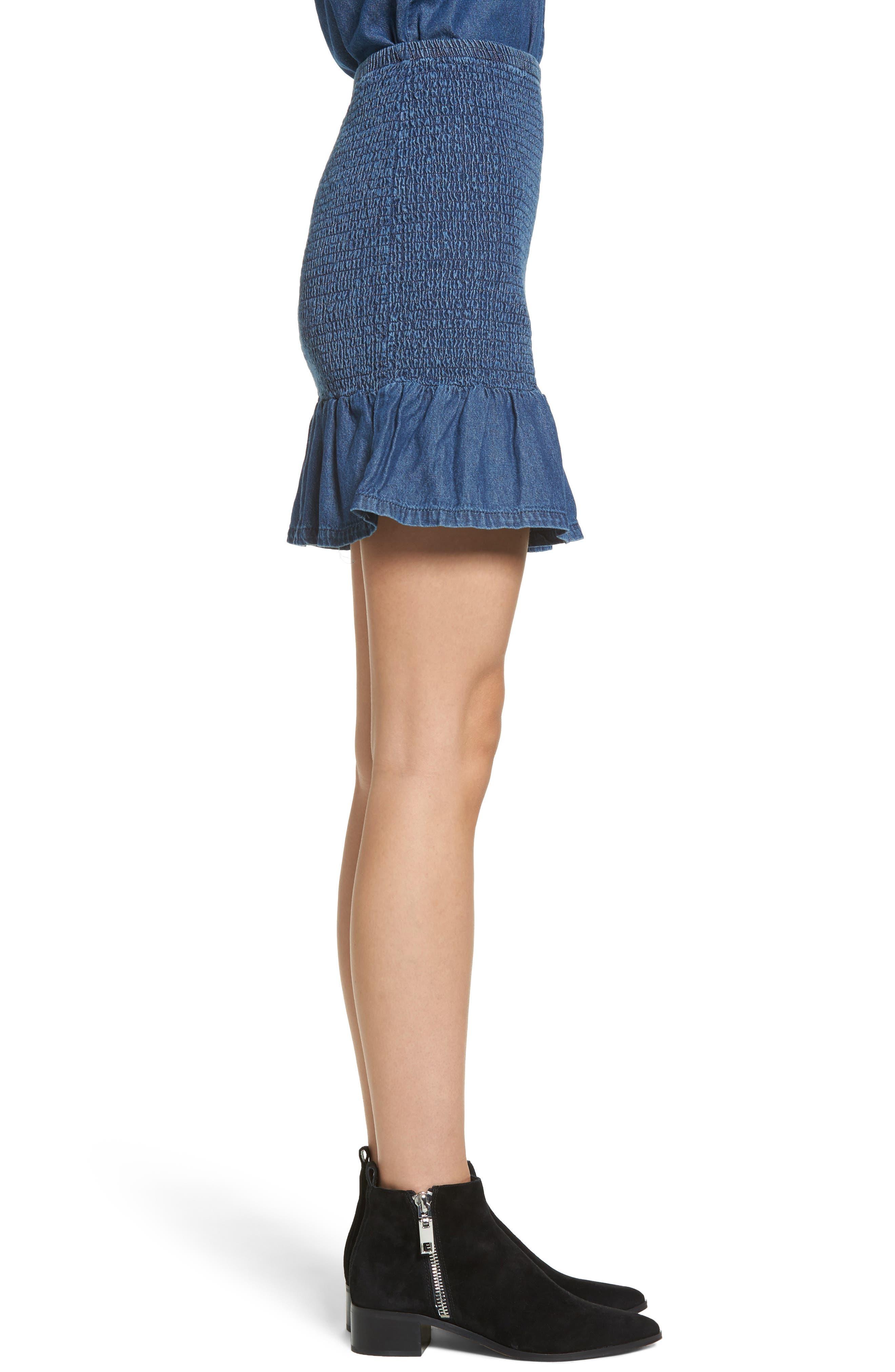 Sentiment Smocked Denim Skirt,                             Alternate thumbnail 4, color,                             Washed Ink
